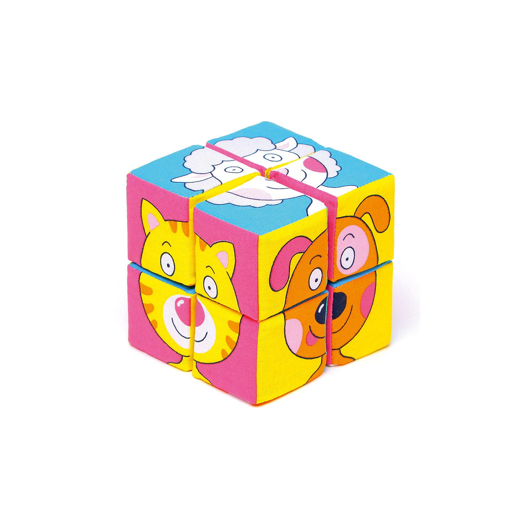 Мякиши Кубики Собираем картину - зверята, Мякиши развивающие игрушки мякиши кубики 2 шт