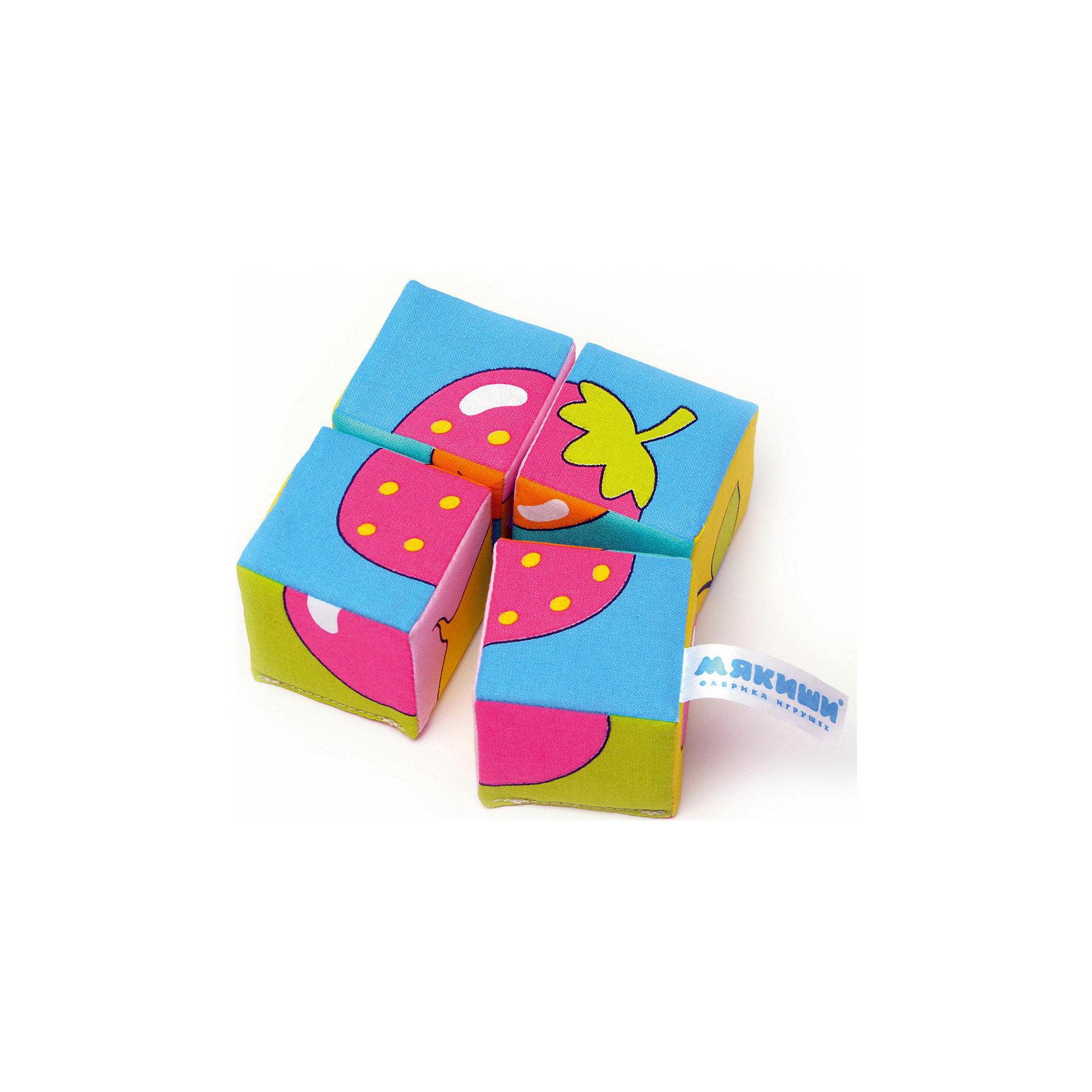 Кубики Собираем картину - ягоды, фрукты, овощи, МякишиХарактеристики товара:<br><br>• материал: хлопок, поролон<br>• комплектация: 4 шт<br>• размер игрушки: 5 см<br>• можно собрать шесть картинок<br>• развивающая игрушка<br>• упаковка: картон<br>• страна бренда: РФ<br>• страна изготовитель: РФ<br><br>Малыши активно познают мир и тянутся к новой информации. Чтобы сделать процесс изучения окружающего пространства интереснее, ребенку можно подарить развивающие игрушки. В процессе игры информация усваивается намного лучше!<br>Такие кубики помогут занять малыша, играть ими приятно и весело. Одновременно они позволят познакомиться со многими цветами, фактурами, а также из них можно собрать шесть картинок. Такие игрушки развивают тактильные ощущения, моторику, цветовосприятие, логику, воображение, учат фокусировать внимание. Каждое изделие абсолютно безопасно – оно создано из качественной ткани с мягким наполнителем. Игрушки производятся из качественных и проверенных материалов, которые безопасны для детей.<br><br>Кубики Собери картинку - ягоды, фрукты, овощи от бренда Мякиши можно купить в нашем интернет-магазине.<br><br>Ширина мм: 100<br>Глубина мм: 50<br>Высота мм: 100<br>Вес г: 40<br>Возраст от месяцев: 12<br>Возраст до месяцев: 36<br>Пол: Унисекс<br>Возраст: Детский<br>SKU: 5183227