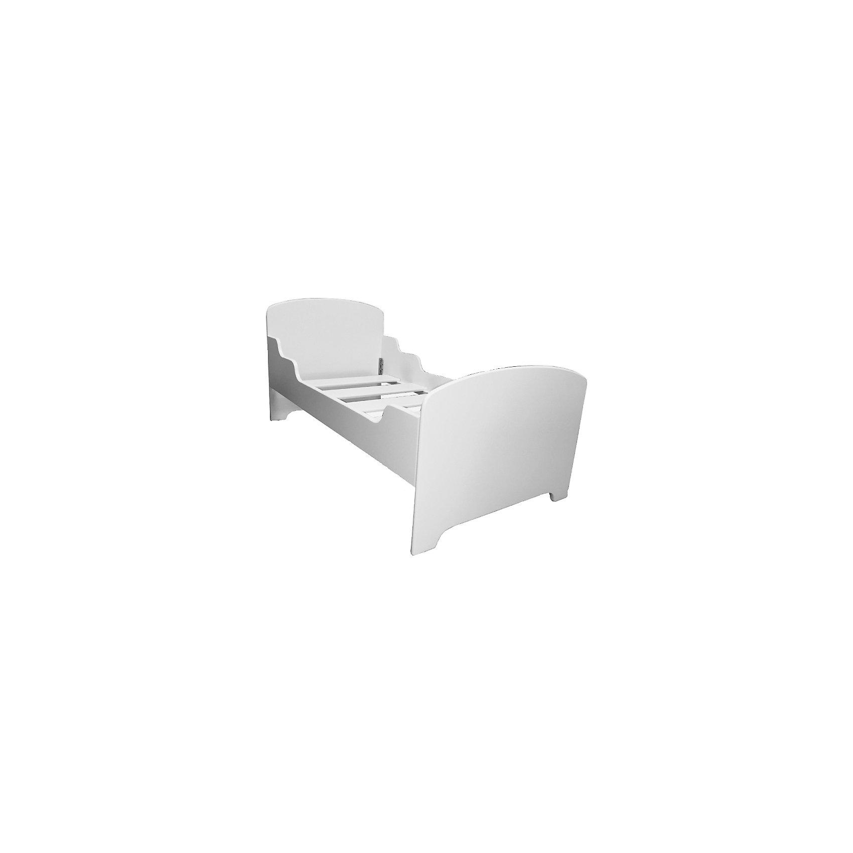 РусЭкоМебель Кровать подростковая 160 х 80 , Русэкомебель, белый