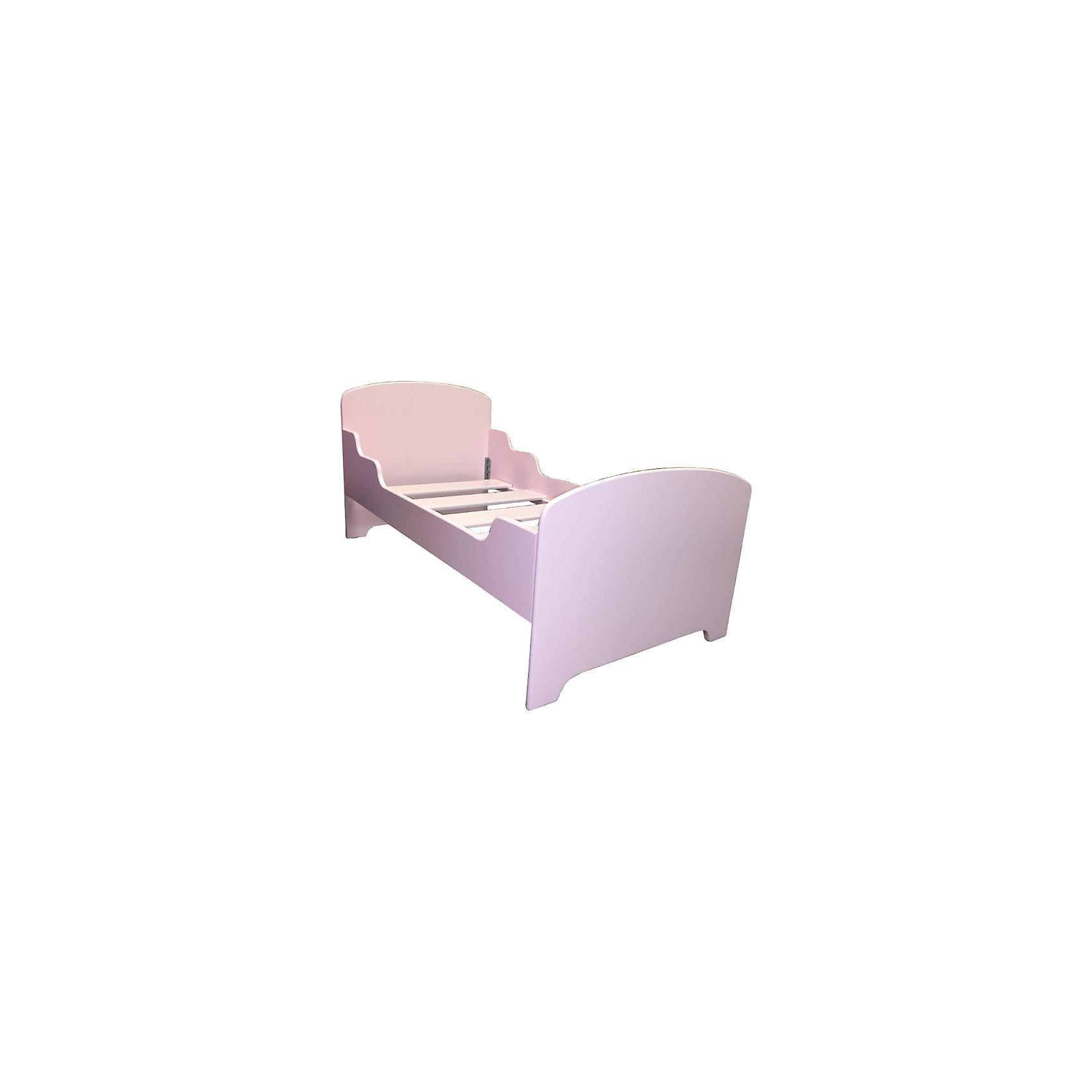 РусЭкоМебель Кровать подростковая 160 х 80 , Русэкомебель, розовый