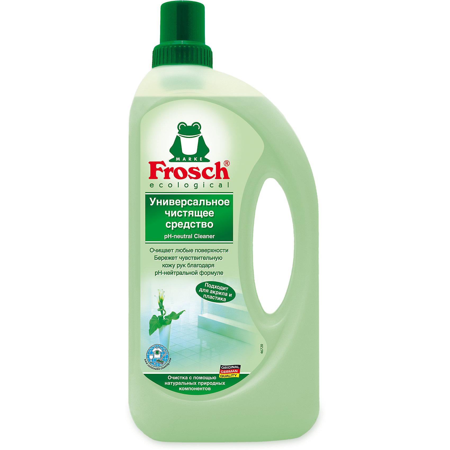 Универсальное чистящее средство, 1 л., FroschХарактеристики товара:<br><br>• объем: 1 л<br>• упаковка: пластик<br>• страна бренда: Германия<br>• страна изготовитель: Германия<br><br>Frosch - мировой лидер по производству чистящих средств, основанный в Германии. Отличительная особенность жидкостей – их безопасность и экологичность. Универсальное средство помогает хозяйкам поддерживать чистоту в доме без особых усилий и затрат. <br><br>Химическая формула растворяет и удаляет любые даже самые сложные загрязнения. Материалы, использованные при изготовлении товара, сертифицированы и отвечают всем международным требованиям по качеству. <br><br>Универсальное чистящее средство, 1 л., от немецкого производителя Frosch (Фрош) можно приобрести в нашем интернет-магазине.<br><br>Ширина мм: 120<br>Глубина мм: 55<br>Высота мм: 283<br>Вес г: 1140<br>Возраст от месяцев: 216<br>Возраст до месяцев: 1188<br>Пол: Унисекс<br>Возраст: Детский<br>SKU: 5185725