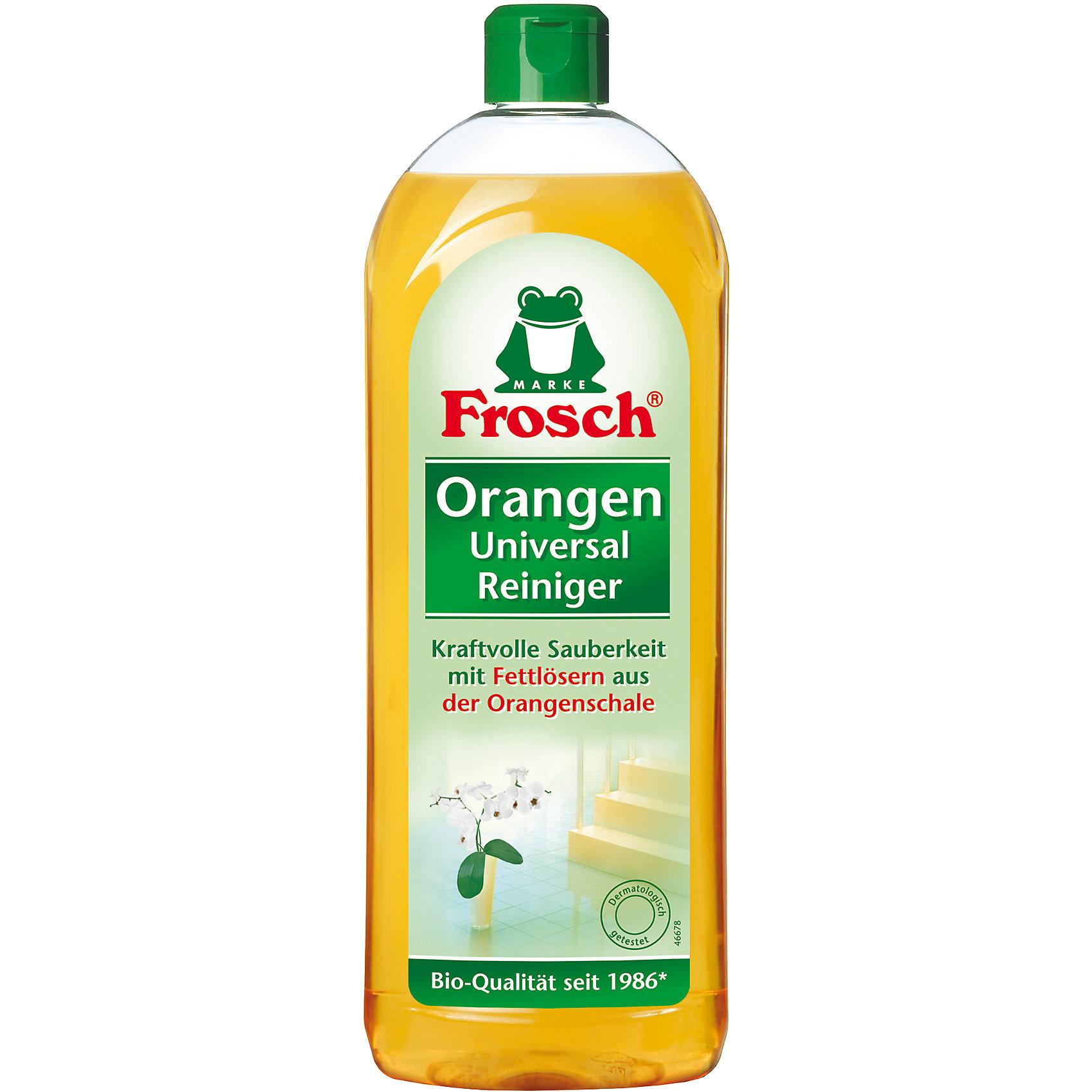Универсальный апельсиновый очиститель, 0,75 л., FroschБытовая химия<br>Характеристики товара:<br><br>• объем: 750 мл<br>• упаковка: пластик<br>• страна бренда: Германия<br>• страна изготовитель: Германия<br><br>Frosch - мировой лидер по производству чистящих средств, основанный в Германии. Отличительная особенность жидкостей – их безопасность и экологичность. Универсальное средство помогает хозяйкам поддерживать чистоту в доме без особых усилий и затрат. <br><br>Химическая формула растворяет сложные загрязнения и придает цитрусовый аромат. Материалы, использованные при изготовлении товара, сертифицированы и отвечают всем международным требованиям по качеству. <br><br>Универсальный апельсиновый очиститель, 0,75 л, от немецкого производителя Frosch (Фрош) можно приобрести в нашем интернет-магазине.<br><br>Ширина мм: 85<br>Глубина мм: 53<br>Высота мм: 258<br>Вес г: 838<br>Возраст от месяцев: 216<br>Возраст до месяцев: 1188<br>Пол: Унисекс<br>Возраст: Детский<br>SKU: 5185726
