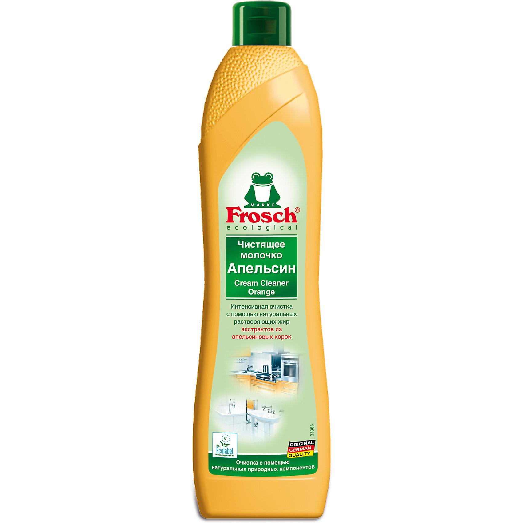 Чистящее молочко апельсин, 0,5 л., FroschБытовая химия<br>Характеристики товара:<br><br>• объем: 500 мл<br>• упаковка: пластик<br>• страна бренда: Германия<br>• страна изготовитель: Германия<br><br>Чистящее молочко – бережная формула сильного чистящего средства. Frosch - мировой лидер по производству чистящих средств, основанный в Германии. Отличительная особенность жидкостей – их безопасность и экологичность. <br><br>Универсальное средство помогает хозяйкам поддерживать чистоту в доме без особых усилий и затрат. Химическая формула растворяет сложные загрязнения и придает цитрусовый аромат. Материалы, использованные при изготовлении товара, сертифицированы и отвечают всем международным требованиям по качеству. <br><br>Чистящее молочко апельсин, 0,5 л, от немецкого производителя Frosch (Фрош) можно приобрести в нашем интернет-магазине.<br><br>Ширина мм: 68<br>Глубина мм: 45<br>Высота мм: 262<br>Вес г: 710<br>Возраст от месяцев: 216<br>Возраст до месяцев: 1188<br>Пол: Унисекс<br>Возраст: Детский<br>SKU: 5185727