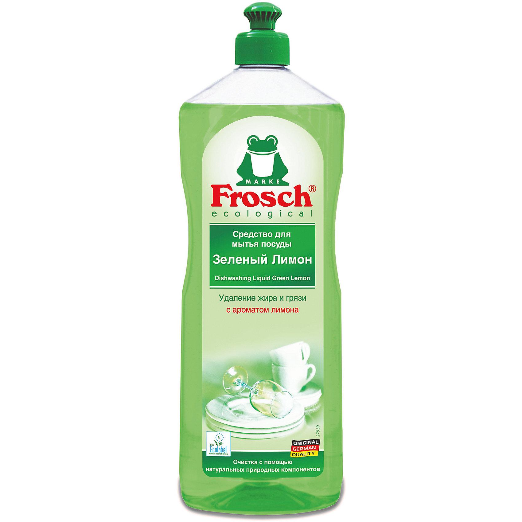 - Средство для мытья посуды (зеленый лимон), 1 л., Frosch бальзам для мытья посуды зеленый чай frosch 0 5 л