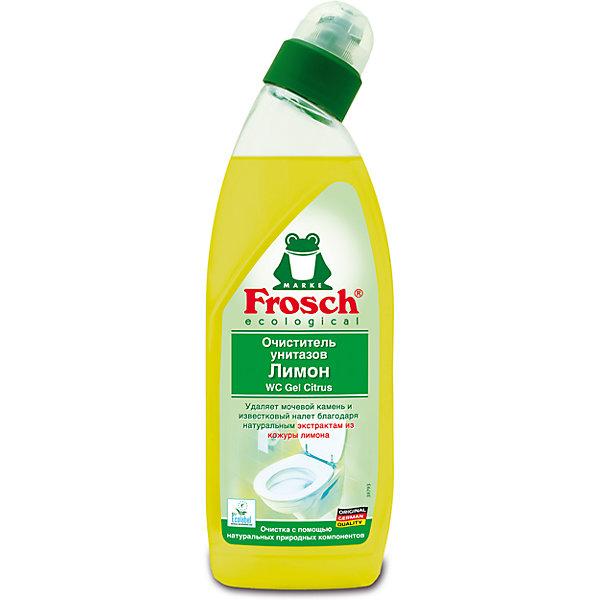 Очиститель унитазов Лимон, 0,75 л., FroschБытовая химия<br>Характеристики товара:<br><br>• объем: 750 мл<br>• упаковка: пластик<br>• страна бренда: Германия<br>• страна изготовитель: Германия<br><br>Чистота сантехнических приборов должна поддерживаться постоянно. На помощь хозяйкам приходят многочисленные средства. Но все ли они так эффективны и безопасны, как продукция от компании Frosch? <br><br>Средства данного бренда не только идеально справляются со своими прямыми обязанностями, но и придают приятный аромат, например, лимон. Материалы, использованные при изготовлении товара, сертифицированы и отвечают всем международным требованиям по качеству. <br><br>Очиститель унитазов Лимон, 0,75 л, от немецкого производителя Frosch (Фрош) можно приобрести в нашем интернет-магазине.<br><br>Ширина мм: 87<br>Глубина мм: 53<br>Высота мм: 265<br>Вес г: 840<br>Возраст от месяцев: 216<br>Возраст до месяцев: 1188<br>Пол: Унисекс<br>Возраст: Детский<br>SKU: 5185738