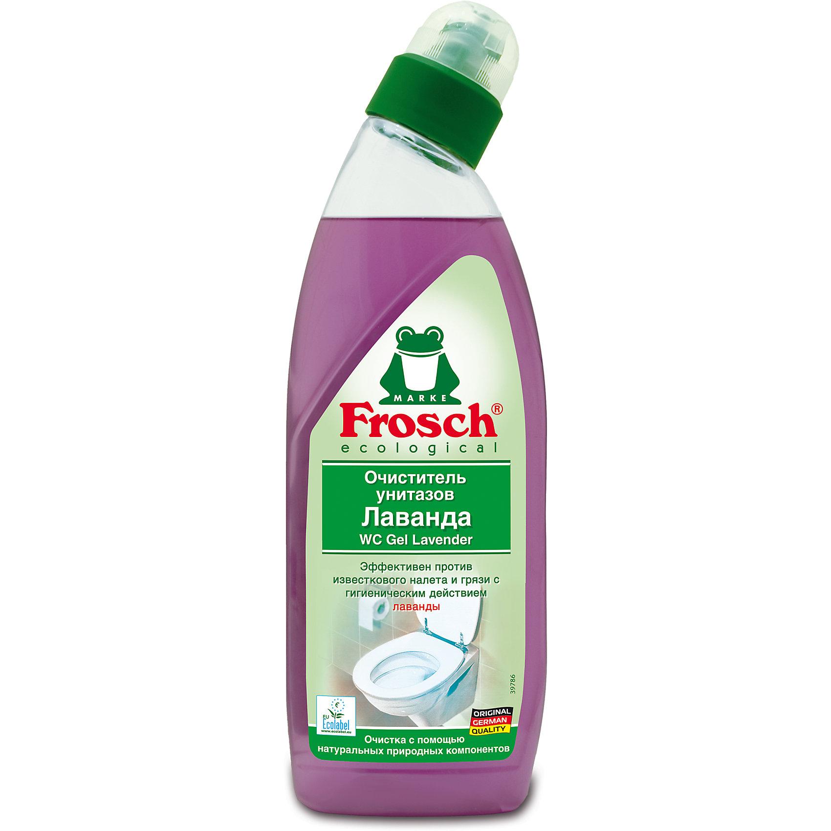 Очиститель унитазов Лаванда, 0,75 л., FroschХарактеристики товара:<br><br>• объем: 750 мл<br>• упаковка: пластик<br>• страна бренда: Германия<br>• страна изготовитель: Германия<br><br>Чистота сантехнических приборов должна поддерживаться постоянно. На помощь хозяйкам приходят многочисленные средства. Но все ли они так эффективны и безопасны, как продукция от компании Frosch? <br><br>Средства данного бренда не только идеально справляются со своими прямыми обязанностями, но и придают приятный аромат, например, лаванда. Материалы, использованные при изготовлении товара, сертифицированы и отвечают всем международным требованиям по качеству. <br><br>Очиститель унитазов Лаванда, 0,75 л, от немецкого производителя Frosch (Фрош) можно приобрести в нашем интернет-магазине.<br><br>Ширина мм: 87<br>Глубина мм: 53<br>Высота мм: 265<br>Вес г: 840<br>Возраст от месяцев: 216<br>Возраст до месяцев: 1188<br>Пол: Унисекс<br>Возраст: Детский<br>SKU: 5185739