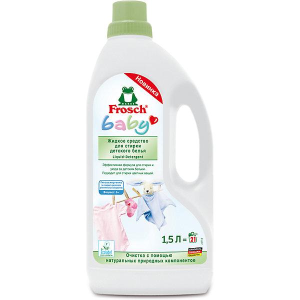 Жидкое средство для стирки детского белья, 1,5л, FroschДетская бытовая химия<br>Характеристики товара:<br><br>• объем: 1500 мл<br>• упаковка: пластик<br>• страна бренда: Германия<br>• страна изготовитель: Германия<br><br>К детским очищающим средствам всегда предъявляются повышенные требования. Они должны полностью очищать ткань, заботиться о коже малыша и быть абсолютно безопасными. Детские средства для стирки должны смываться водой без единого остатка, а так же быть гипоаллергенными. <br><br>Кроме того, важна экономичность упаковки. Материалы, использованные при изготовлении товара, сертифицированы и отвечают всем международным требованиям по качеству. <br><br>Жидкое средство для стирки детского белья, 1,5 л, от немецкого производителя Frosch (Фрош) можно приобрести в нашем интернет-магазине.<br><br>Ширина мм: 120<br>Глубина мм: 70<br>Высота мм: 285<br>Вес г: 1640<br>Возраст от месяцев: 216<br>Возраст до месяцев: 1188<br>Пол: Унисекс<br>Возраст: Детский<br>SKU: 5185745