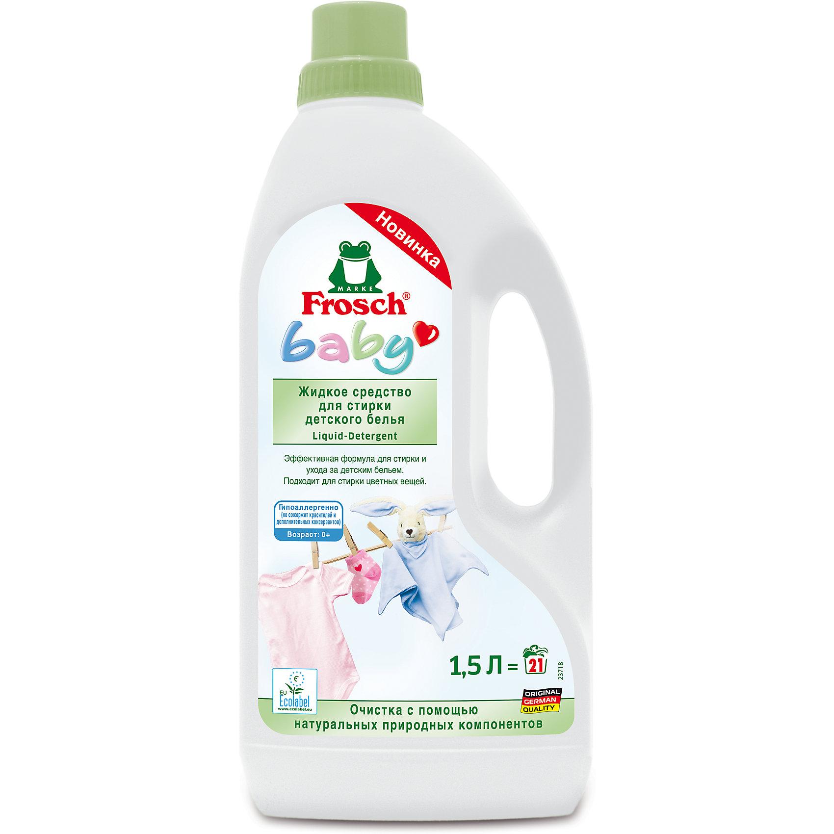 Жидкое средство для стирки детского белья, 1,5л, FroschБытовая химия<br>Характеристики товара:<br><br>• объем: 1500 мл<br>• упаковка: пластик<br>• страна бренда: Германия<br>• страна изготовитель: Германия<br><br>К детским очищающим средствам всегда предъявляются повышенные требования. Они должны полностью очищать ткань, заботиться о коже малыша и быть абсолютно безопасными. Детские средства для стирки должны смываться водой без единого остатка, а так же быть гипоаллергенными. <br><br>Кроме того, важна экономичность упаковки. Материалы, использованные при изготовлении товара, сертифицированы и отвечают всем международным требованиям по качеству. <br><br>Жидкое средство для стирки детского белья, 1,5 л, от немецкого производителя Frosch (Фрош) можно приобрести в нашем интернет-магазине.<br><br>Ширина мм: 120<br>Глубина мм: 70<br>Высота мм: 285<br>Вес г: 1640<br>Возраст от месяцев: 216<br>Возраст до месяцев: 1188<br>Пол: Унисекс<br>Возраст: Детский<br>SKU: 5185745