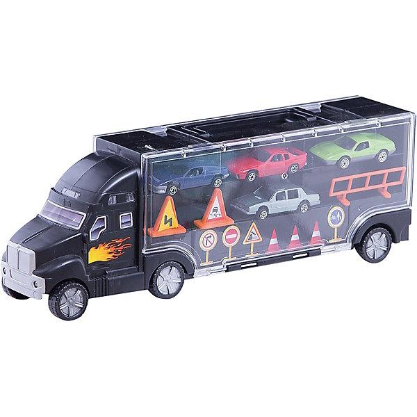 Грузовик-перевозчик с 4-мя машинками, BoleyМашинки<br>Грузовик-перевозчик с 4-мя машинками, Boley (Болей).<br><br>Характеристики:<br><br>• Вес: 870 г.<br>• Размер: 3,6x8,7x14,3 см;<br>• В комплекте: черный грузовик, 4 легковых автомобиля разных марок, игровые аксессуары: дорожные знаки и ограждения.<br><br>Игровой набор от бренда Boley (Болей) - грузовик-перевозчик с 4 машинками станет отличным подарком для каждого мальчика к любому празднику! В комплект входят: черный грузовик, декорированный рисунками в виде языка пламени, 4 легковых автомобиля разных марок, а также игровые аксессуары: дорожные знаки и ограждения. С таким набором ребенок сможет придумывать различные сценарии сюжетно – ролевых игр. Игрушки выполнены из высококачественных, ударопрочных материалов, экологически чистых и безопасных для здоровья ребенка.  <br><br>Грузовик-перевозчик с 4-мя машинками, Boley(Болей), можно купить в нашем интернет- магазине.<br><br>Ширина мм: 390<br>Глубина мм: 150<br>Высота мм: 90<br>Вес г: 861<br>Возраст от месяцев: 48<br>Возраст до месяцев: 2147483647<br>Пол: Мужской<br>Возраст: Детский<br>SKU: 5185757