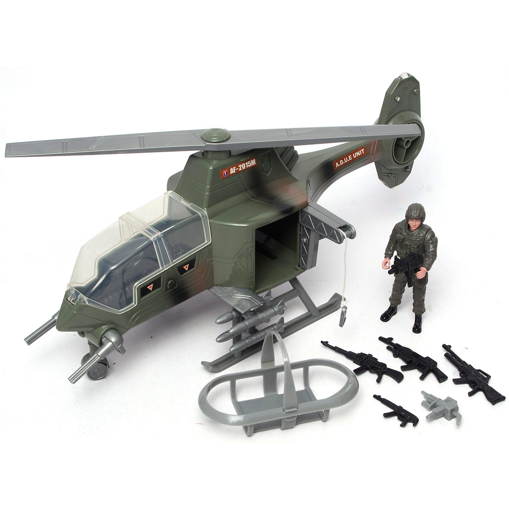 Игровой набор Военные, BoleyВоенный транспорт<br>Игровой набор Военные, Boley (Болей).<br><br>Характеристики:<br><br>• Вес: 870 г.<br>• Размер упаковки: 39х14х20 см.<br>• В комплекте: вертолет, фигурка солдата, аксессуары, оружие.<br><br>Игровой набор «Военные» от бренда Boley (Болей) - станет отличным подарком для каждого мальчика к любому празднику! С ним ребенок сможет затеять увлекательную сюжетно-ролевую игру на военную тематику. В комплекте: военный вертолет, с реалистично проработанными деталями, фигурка солдата, оружие и аксессуары. Все предметы выполнены из высококачественных, экологически чистых материалов, совершенно безопасных для ребенка. Игрушка выглядит ярко и очень эффектно!  <br><br>Игровой набор Военные, Boley (Болей), можно купить в нашем интернет- магазине.<br><br>Ширина мм: 400<br>Глубина мм: 210<br>Высота мм: 135<br>Вес г: 833<br>Возраст от месяцев: 48<br>Возраст до месяцев: 2147483647<br>Пол: Мужской<br>Возраст: Детский<br>SKU: 5185758