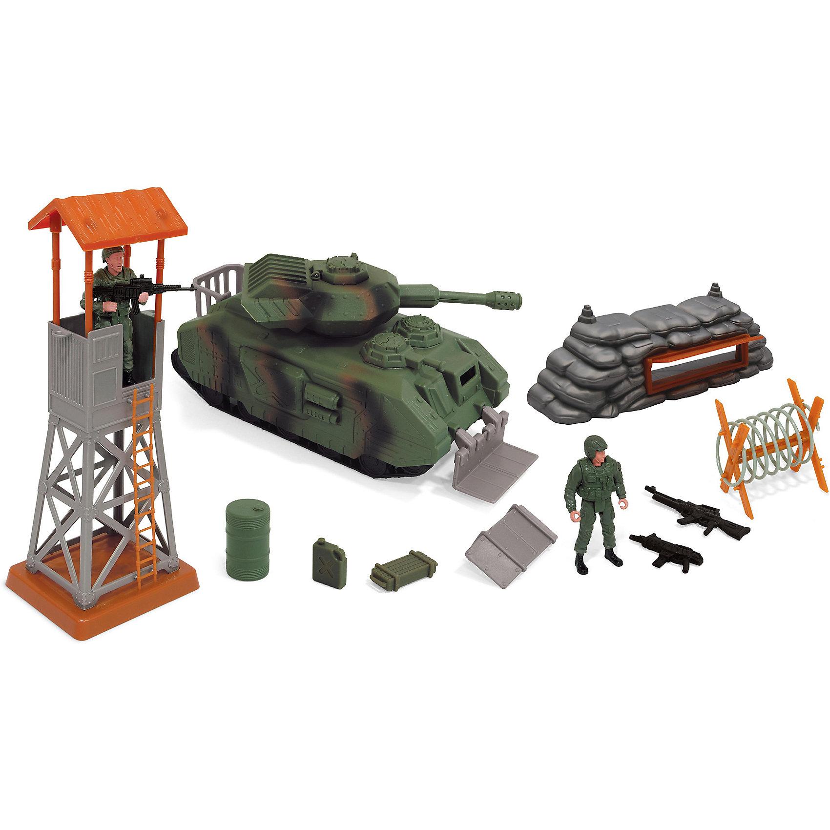 Игровой набор Военные, BoleyИгровой набор Военные, Boley (Болей).<br><br>Характеристики:<br><br>• Вес: 870 г.<br>• Размер упаковки: 39х14х20 см.<br>• В комплекте: танк, фигурка солдата, аксессуары, оружие.<br><br>Игровой набор «Военные» от бренда Boley (Болей) - станет отличным подарком для каждого мальчика к любому празднику! С ним ребенок сможет затеять увлекательную сюжетно-ролевую игру на военную тематику. В комплекте: танк со звуковыми и световыми эффектами, 2 фигурки солдатиков, заграждение из мешков и наблюдательная вышка. Башня у танка поворачивается на 360' градусов. Все предметы выполнены из высококачественных, экологически чистых материалов, совершенно безопасных для ребенка. Игрушка выглядит ярко и очень эффектно!  <br><br>Игровой набор Военные, Boley (Болей), можно купить в нашем интернет - магазине.<br><br>Ширина мм: 410<br>Глубина мм: 360<br>Высота мм: 140<br>Вес г: 1173<br>Возраст от месяцев: 48<br>Возраст до месяцев: 2147483647<br>Пол: Мужской<br>Возраст: Детский<br>SKU: 5185759