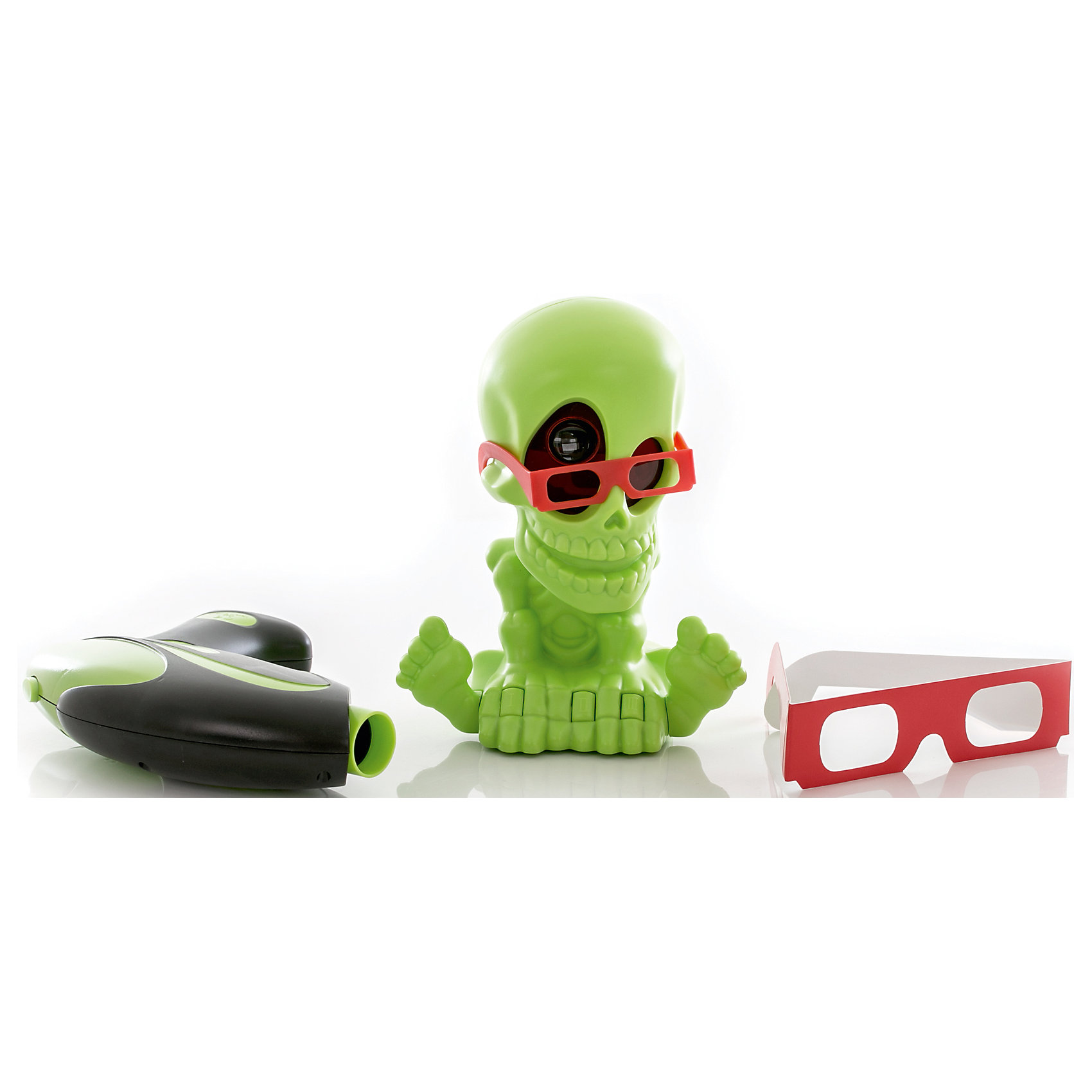 Тир проекционный 3D Джонни-Черепок  с 2-мя бластерами, Johnny the SkullСюжетно-ролевые игры<br>Тир проекционный 3D Джонни-Черепок  с 2-мя бластерами, Johnny the Skull<br><br>Характеристики:<br><br>• Вес: 1080 г.<br>• Размер упаковки: 44х13х25 см.<br>• В комплекте: проектор Джонни Черепок в 3D-очках, 2 бластера, 2 3D-очков для игроков, инструкция.<br><br>Проекционный  тир – это интерактивная игрушка предназначенная для игры в закрытых помещениях. Он совершенно безопасен для игроков, а также для  обстановки квартиры, так как стрелять нужно не пульками, стрелами или другими снарядами, а невидимым лучом! С интерактивными тиром Johnny The Skull вам не потребуется много свободного пространства, достаточно будет погасить свет в комнате и можно начинать увлекательную охоту на привидения и летучих мышей! Комплект набора состоит из проектора в виде симпатичного скелетика по имени Джонни, отбрасывающего световые проекции на стены и потолок комнаты, и двух электронных бластеров, которые будут подсчитывать количество метких выстрелов. Порадуйте своего мальчика, подарив ему такой интерактивный тир!<br><br>Тир проекционный 3D Джонни-Черепок  с 2-мя бластерами, Johnny the Skull, можно купить в нашем интернет- магазине.<br><br>Ширина мм: 400<br>Глубина мм: 260<br>Высота мм: 130<br>Вес г: 1105<br>Возраст от месяцев: 72<br>Возраст до месяцев: 2147483647<br>Пол: Мужской<br>Возраст: Детский<br>SKU: 5185762