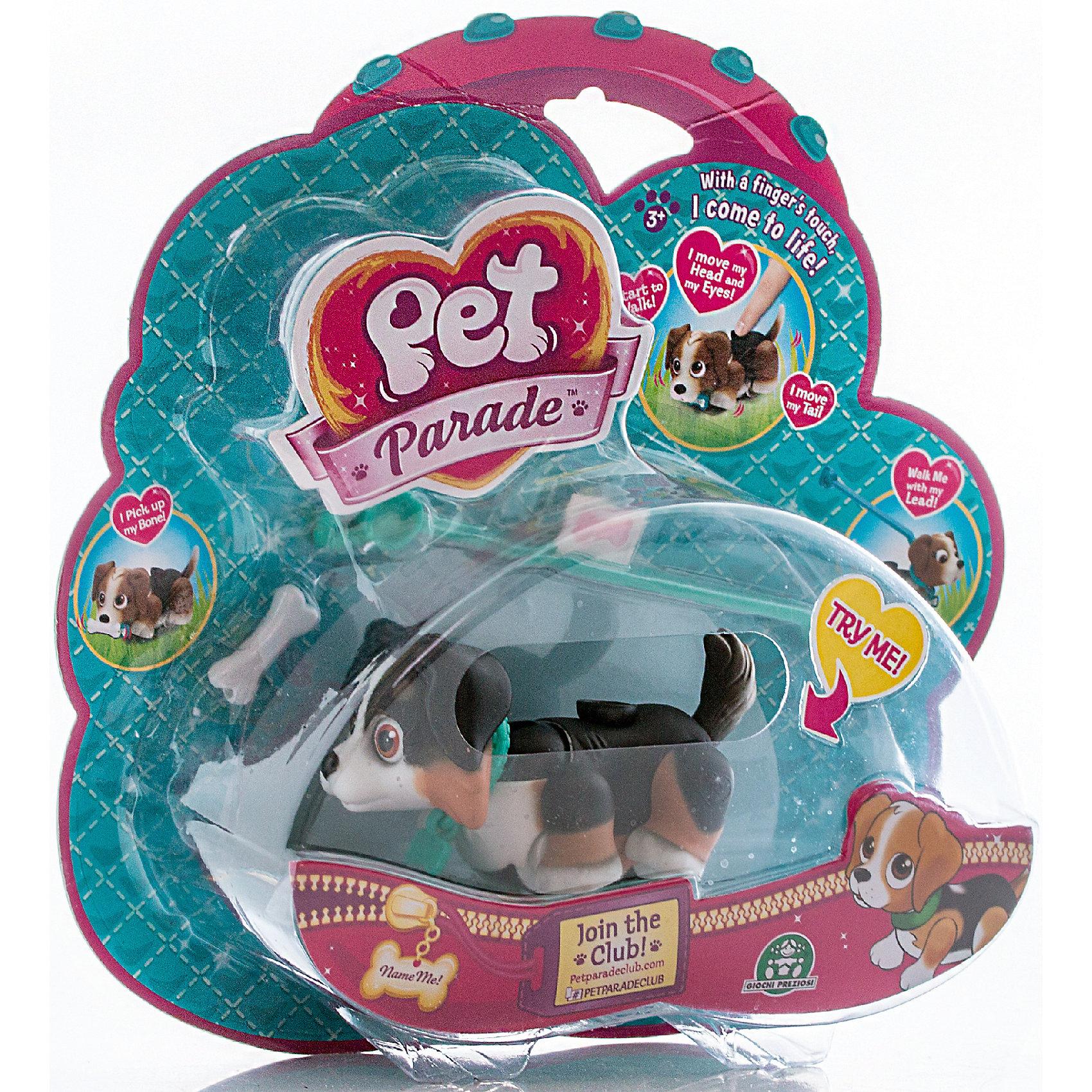 Фигурка собачки в комплекте с косточкой и поводком, Pet Club ParadeЛюбимые герои<br>Фигурка собачки в комплекте с косточкой и поводком, ассортимент, Pet Club Parade(Пет Клаб Парейд).<br><br>Характеристики:<br><br>• Размер упаковки: 22х6х21 см.<br>• Вес:160г.<br>• В комплекте: фигурка собачки, косточки, поводок, наклейка на ошейник, буклет.<br><br>Щенки Pet Club Parade (Пет Клаб Парад) забавно двигают лапками при ходьбе. При желании, можно присоединить специальный поводок розового или голубого цвета к ошейнику. На спинке расположен джойстик, с помощью которого можно управлять головой, хвостиком и глазами.<br>Внутри фигурки  встроен магнит, благодаря чему, щенок может подбирать и следовать за своей косточкой. Игрушка работает без батареек!<br>На ошейнике собачки есть бирка в виде косточки, на которую можно приклеить стикер с именем своего любимца. Такая собачка, безусловно, станет желанным подарком для маленьких любителей домашних животных!<br><br>Фигурку собачки в комплекте с косточкой и поводком, ассортимент, Pet Club Parade(Пет Клаб Парейд), можно купить в нашем интернет – магазине.<br><br>Ширина мм: 220<br>Глубина мм: 210<br>Высота мм: 60<br>Вес г: 153<br>Возраст от месяцев: 36<br>Возраст до месяцев: 2147483647<br>Пол: Женский<br>Возраст: Детский<br>SKU: 5185767