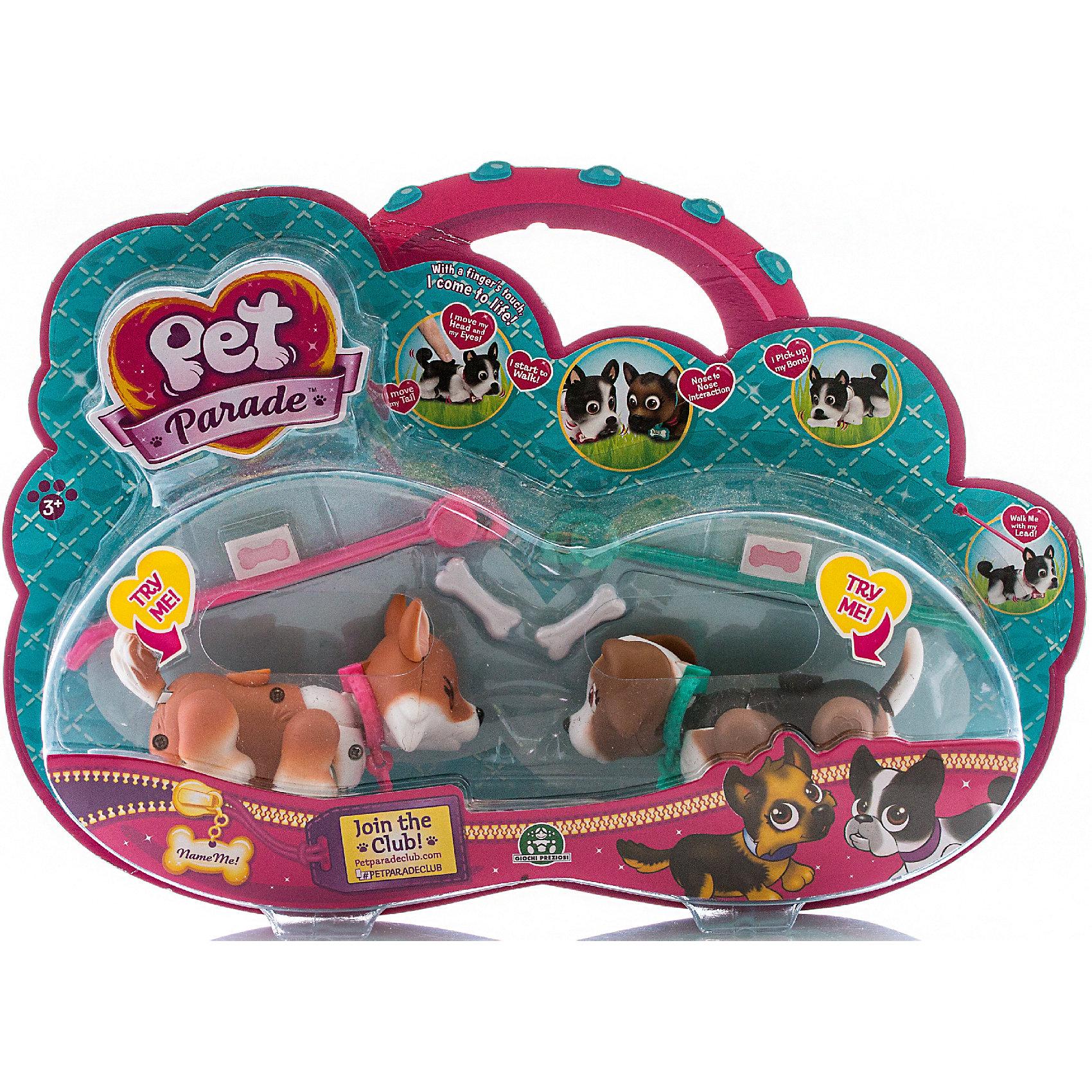 Фигурки собачек в комплекте с косточками и поводком, Pet Club ParadeЛюбимые герои<br>Фигурки собачки в комплекте с косточкой и поводком, ассортимент, Pet Club Parade (Пет Клаб Парейд).<br><br>Характеристики:<br><br>• Размер упаковки: 22х6х21 см.<br>• Вес:160г.<br>• В комплекте: две фигурки собачек, две косточки, два поводка, две наклейки на ошейник, буклет.<br><br>Щенки Pet Club Parade (Пет Клаб Парад) забавно двигают лапками при ходьбе. При желании, можно присоединить специальный поводок розового или голубого цвета к ошейнику. На спинке расположен джойстик, с помощью которого можно управлять головой, хвостиком и глазами. Внутри фигурки  встроен магнит, благодаря чему, щенок может подбирать и следовать за своей косточкой. Игрушка работает без батареек. На ошейнике у собачек есть бирка в виде косточки, на которую можно приклеить стикер с именем своего любимца. Такие собачки, безусловно, станут желанным  подарком для маленьких любителей домашних животных!<br><br>Фигурки собачек в комплекте с косточками и поводком, ассортимент, Pet Club Parade (Пет Клаб Парад).<br><br>Ширина мм: 300<br>Глубина мм: 210<br>Высота мм: 60<br>Вес г: 277<br>Возраст от месяцев: 36<br>Возраст до месяцев: 2147483647<br>Пол: Женский<br>Возраст: Детский<br>SKU: 5185768