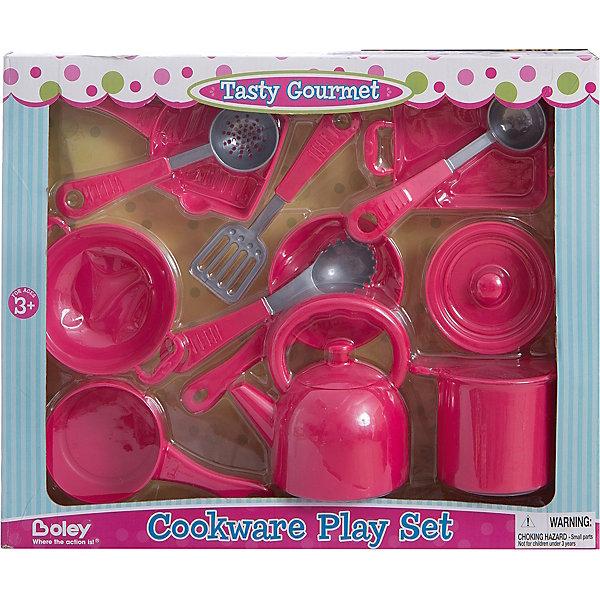 Кухонная посуда, 13 предметов, BoleyДетские кухни<br>Кухонная посуда, 13 предметов, Boley (Болей).<br><br>Характеристики:<br><br>• Вес: 800 г.<br>• Размер упаковки: 42,5х7,5х34,5 см.<br>• Цвет:розовый. <br><br>Замечательный набор кухонной посуды от бренда Boley (Болей) - станет отличным подарком для каждой девочки к любому празднику! С таким набором ваша девочка почувствует себя настоящей хозяйкой. Посуда тщательно детализирована. Все предметы выполнены из высококачественных, экологически чистых материалов, совершенно безопасных для ребенка. Играя с таким набором, ребенок осваивает  сюжетно –ролевые игры. Порадуйте  свою маленькую хозяйку, подарив ей такой набор кухонной посуды!<br><br>Кухонную посуду, 13 предметов, Boley (Болей), можно купить в нашем интернет- магазине.<br><br>Ширина мм: 430<br>Глубина мм: 340<br>Высота мм: 80<br>Вес г: 803<br>Возраст от месяцев: 36<br>Возраст до месяцев: 2147483647<br>Пол: Женский<br>Возраст: Детский<br>SKU: 5185770
