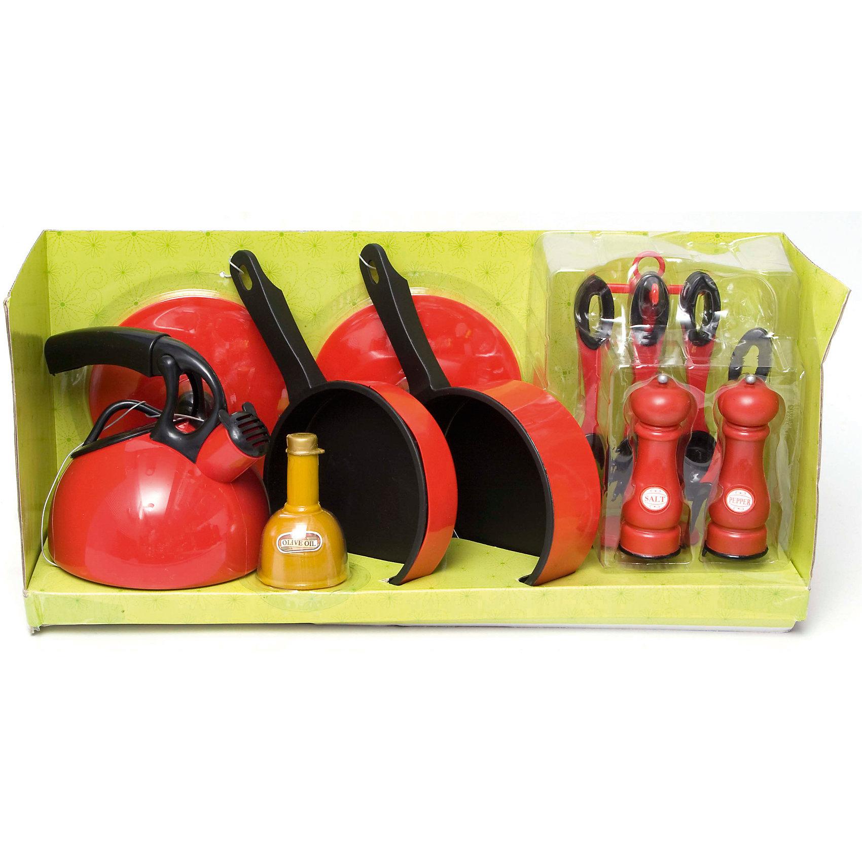 Кухонная посуда, 14 предметов, BoleyПосуда и аксессуары для детской кухни<br>Кухонная посуда, 14 предметов, Boley (Болей).<br><br>Характеристики:<br><br>• Вес: 800 г.<br>• Размер упаковки: 41,2 х 13,1 х 18,7 см.<br>• Цвет: красный, черный.<br>• Материал: пластик.<br><br>Замечательный набор кухонной посуды от бренда Boley (Болей) - станет отличным подарком для каждой девочки к любому празднику! С ним девочка сможет затеять увлекательную сюжетно-ролевую игру и почувствовать себя настоящей хозяюшкой, приготовить вкусный ужин для своих кукол. В комплект включены 14 предметов - 2 сковороды с крышками, чайник, 2 емкости для специй и другие. Посуда тщательно детализирована. Все предметы выполнены из высококачественных, экологически чистых материалов, совершенно безопасных для ребенка. Играя с таким набором, ребенок осваивает  сюжетно –ролевые игры. Порадуйте  свою маленькую хозяйку, подарив ей такой набор кухонной посуды!<br><br>Кухонную посуду, 14 предметов, Boley (Болей), можно купить в нашем интернет- магазине.<br><br>Ширина мм: 420<br>Глубина мм: 190<br>Высота мм: 130<br>Вес г: 795<br>Возраст от месяцев: 36<br>Возраст до месяцев: 2147483647<br>Пол: Женский<br>Возраст: Детский<br>SKU: 5185771