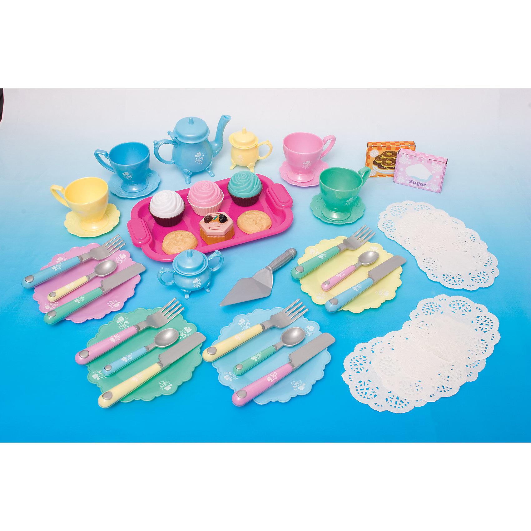 Игровой набор Чайная вечеринка 45 предметов, BoleyПосуда и аксессуары для детской кухни<br>Игровой набор Чайная вечеринка 45 предметов, Boley (Болей).<br><br>Характеристики:<br><br>• Вес: 780 г.<br>• Размер упаковки: 51,3 х 5 х 33,8 см.<br>• Цвет: разноцветный.<br>• Материал: пластик.<br><br>Игровой набор Чайная вечеринка от производителя Boley - отличный подарок для девочки к любому празднику! С ним девочка сможет принять  гостей и устроить чаепитие  со своими куклами и подружками. В набор входят комплекты приборов на 3 персоны, заварочный чайник, поднос, игрушечные пирожные и печенья, салфетки и другие аксессуары -  всего 45 предметов. Посуда и аксессуары тщательно детализированы. Все предметы выполнены из высококачественных, экологически чистых материалов, совершенно безопасных для ребенка. Порадуйте  свою маленькую хозяйку, подарив ей такой набор!<br><br>Игровой набор Чайная вечеринка 45 предметов, Boley (Болей), можно купить в нашем интернет- магазине.<br><br>Ширина мм: 520<br>Глубина мм: 340<br>Высота мм: 50<br>Вес г: 778<br>Возраст от месяцев: 36<br>Возраст до месяцев: 2147483647<br>Пол: Женский<br>Возраст: Детский<br>SKU: 5185774