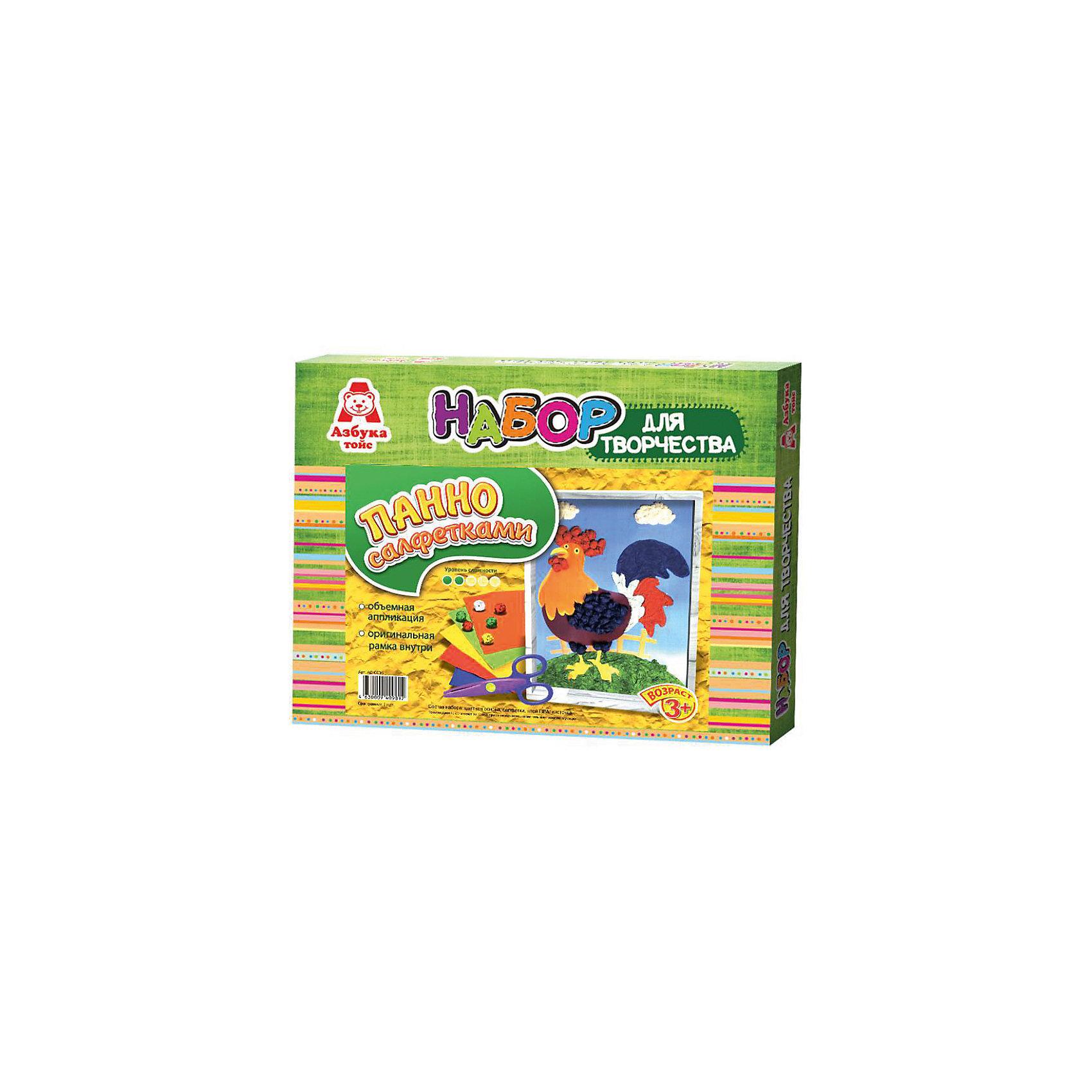 Аппликация салфетками ПетухБумага<br>Характеристики:<br><br>• Предназначение: для занятий аппликацией<br>• Тематика: Новый год, домашние животные и птицы<br>• Пол: универсальный<br>• Материал: картон, пластик, клей, текстиль<br>• Цвет: оранжевый, красный, желтый, синий<br>• Комплектация: цветная основа, набор разноцветных салфеток, клей ПВА, кисточка, инструкция<br>• Размеры (Д*Ш*В): 27*3*21 см<br>• Вес: 116 г <br>• Упаковка: картонная коробка<br><br>Аппликация салфетками Петух изготовлена отечественным производителем детских товаров с учетом особенностей психофизиологического развития детей раннего дошкольного возраста. Занятия аппликацией являются одними из любимых увлечений маленьких непосед. Азбука Тойс предлагает малышам и их родителям готовые наборы для детского творчества, в которых предусмотрены все необходимые детали и аксессуары для создания яркой и красивой поделки.<br>Набор Петух включает в себя картинку-основу, набор разноцветных салфеток, а также клей и кисточку. С помощью расположения салфеток на картине создаются объемные детали, которые приклеиваются с помощью клея ПВА. На картинке изображена Снегурочка. Набор предусматривает картонную рамку для оформления поделки, поэтому картинку можно подарить в качестве подарка к наступающему Новому году или оформить интерьер.<br>С творческими наборами от Азбука Тойc Ваш ребенок научится создавать много интересных поделок, что будет способствовать его творческому и интеллектуальному развитию. Творческие наборы могут стать хорошим подарком к предстоящим торжествам и праздникам.<br><br>Аппликацию салфетками Петух можно купить в нашем интернет-магазине.<br><br>Ширина мм: 270<br>Глубина мм: 30<br>Высота мм: 210<br>Вес г: 116<br>Возраст от месяцев: 36<br>Возраст до месяцев: 96<br>Пол: Унисекс<br>Возраст: Детский<br>SKU: 5188161