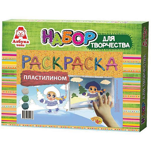 Аппликация пластилином СнегуркаНаборы для творчества новогодние<br>Характеристики:<br><br>• Предназначение: для занятий аппликацией<br>• Тематика: Новый год<br>• Пол: для девочек<br>• Материал: картон, пластик, бумага, пластилин<br>• Цвет: белый, зеленый, синий<br>• Комплектация: набор пластилина, картинка-основа с нанесенным контуром, стек, инструкция<br>• Размеры (Д*Ш*В): 27*3*21 см<br>• Вес: 160 г <br>• Упаковка: картонная коробка<br><br>Аппликация пластилином Снегурочка изготовлена отечественным производителем детских товаров с учетом особенностей психофизиологического развития детей раннего дошкольного возраста. Занятия аппликацией являются одними из любимых увлечений маленьких непосед. Азбука Тойс предлагает малышам и их родителям готовые наборы для детского творчества, в которых предусмотрены все необходимые детали и аксессуары для создания яркой и красивой поделки.<br>Набор для аппликации пластилином Снегурочка состоит из картинки-основы с нанесенным контуром, необходимого количества пластилина 3-х основных цветов и стека. Пластилин в наборе отличается пластичностью и мягкостью, не прилипает к рукам и не окрашивает их. На картинке изображена Снегурочка. Аппликацию из пластилина можно подарить в качестве подарка к наступающему Новому году.<br>С творческими наборами от Азбука Тойc Ваш ребенок научится создавать много интересных поделок, что будет способствовать его творческому и интеллектуальному развитию. Творческие наборы могут стать хорошим подарком к предстоящим торжествам и праздникам.<br><br>Аппликацию пластилином Снегурочка можно купить в нашем интернет-магазине.<br><br>Ширина мм: 270<br>Глубина мм: 30<br>Высота мм: 210<br>Вес г: 160<br>Возраст от месяцев: 48<br>Возраст до месяцев: 96<br>Пол: Женский<br>Возраст: Детский<br>SKU: 5188164