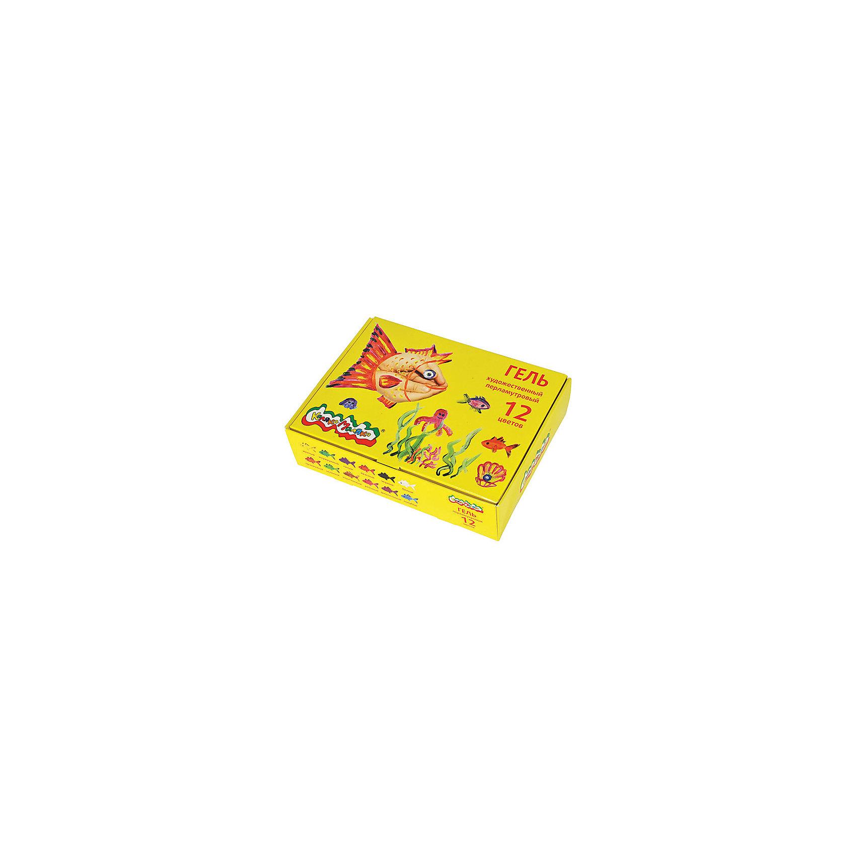 Перламутровый гель, 12 цветов, Каляка-МалякаРисование<br>Характеристики:<br><br>• Предназначение: для занятий художественным творчеством<br>• Пол: универсальный<br>• Количество цветов: 12 цветов <br>• Тип краски: для декорирования<br>• Материал: гель, пластик<br>• Размеры упаковки (Д*Ш*В): 12,5*6*17,5 см<br>• Вес упаковки: 220 г <br>• Упаковка: картонная коробка<br><br>Перламутровый гель 12 цветов от торгового бренда Каляка-Маляка предназначены для декорирования рисунков и поделок из бумаги. Набор состоит из 12 баночек с яркими красками перламутрового цвета. Гель отличаются яркостью и стойкостью цветов, при нанесении на рабочую поверхность не растекается, хорошо и быстро высыхает. Он гипоаллергенен, не имеет запаха, поэтому гель безопасен для детского творчества. <br>Занятия художественным творчеством развивают мелкую моторику рук, способствуют формированию художественно-эстетического вкуса и дарят хорошее настроение не только ребенку, но и окружающим!<br><br>Перламутровый гель 12 цветов можно купить в нашем интернет-магазине.<br><br>Ширина мм: 150<br>Глубина мм: 120<br>Высота мм: 40<br>Вес г: 310<br>Возраст от месяцев: 36<br>Возраст до месяцев: 108<br>Пол: Унисекс<br>Возраст: Детский<br>SKU: 5188787
