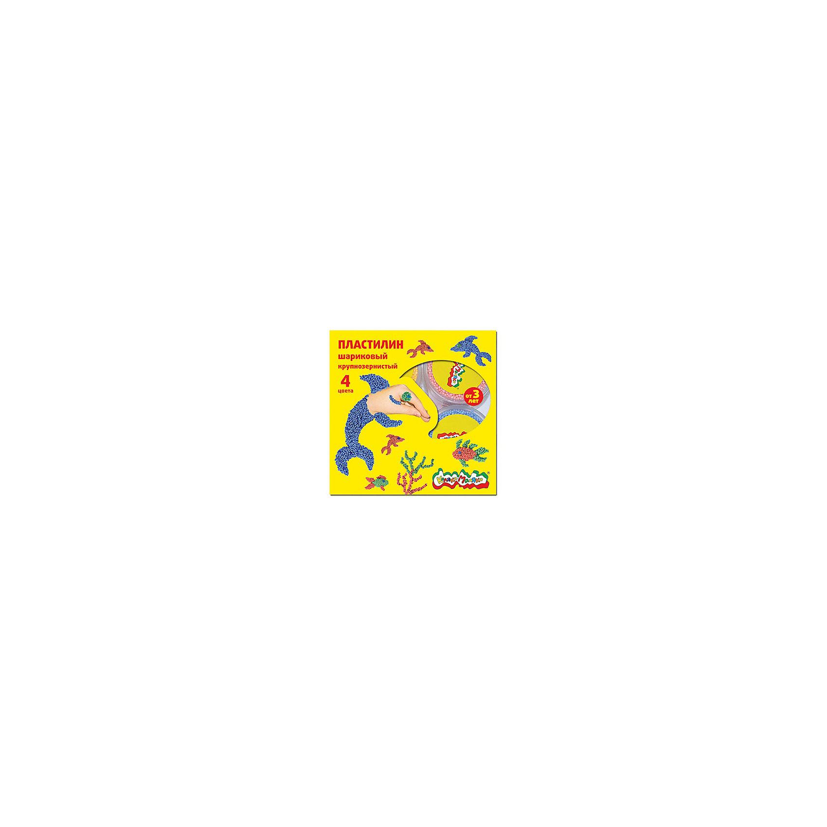 Шариковый пластилин 4 цветаЛепка<br>Пластилин не застывает на воздухе, что позволяет использовать его снова и снова. Легкие шарики, из которых он состоит, соединены клеевым раствором. Он не прилипает к рукам, но позволяет прочно скреплять между собой элементы лепки. Шариковый крупнозернистый пластилин Каляка-Маляка® идеально подходит для самых маленьких деток: он легко делится на части и позволяет создавать простые и понятные ребенку фигурки. В ассортименте имеются наборы из 4 цветов - (желтый, синий, розовый, салатовый) и 6 цветов - (желтый, синий, розовый, салатовый, персиковый, сиреневый) Вес одной баночки в наборе 12 г.<br><br>Ширина мм: 195<br>Глубина мм: 155<br>Высота мм: 50<br>Вес г: 80<br>Возраст от месяцев: 36<br>Возраст до месяцев: 108<br>Пол: Унисекс<br>Возраст: Детский<br>SKU: 5188788