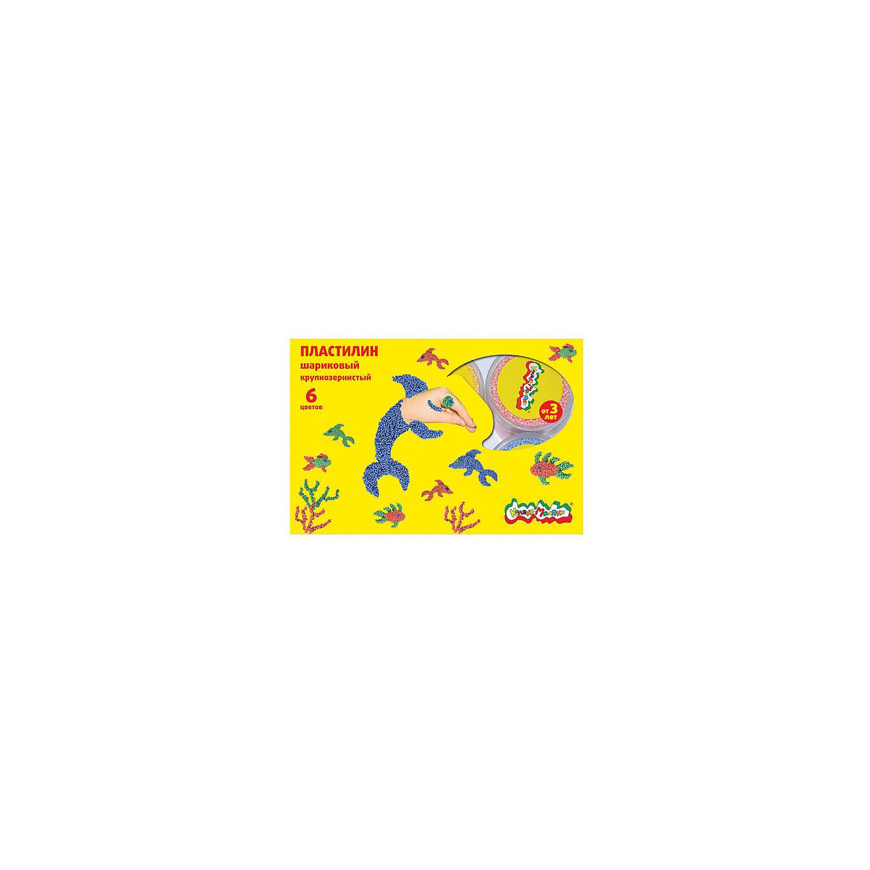 Шариковый пластилин 6 цветовПластилин не застывает на воздухе, что позволяет использовать его снова и снова. Легкие шарики, из которых он состоит, соединены клеевым раствором. Он не прилипает к рукам, но позволяет прочно скреплять между собой элементы лепки. Шариковый крупнозернистый пластилин Каляка-Маляка® идеально подходит для самых маленьких деток: он легко делится на части и позволяет создавать простые и понятные ребенку фигурки. В ассортименте имеются наборы из 4 цветов - (желтый, синий, розовый, салатовый) и 6 цветов - (желтый, синий, розовый, салатовый, персиковый, сиреневый) Вес одной баночки в наборе 12 г.<br><br>Ширина мм: 235<br>Глубина мм: 195<br>Высота мм: 50<br>Вес г: 115<br>Возраст от месяцев: 36<br>Возраст до месяцев: 108<br>Пол: Унисекс<br>Возраст: Детский<br>SKU: 5188789