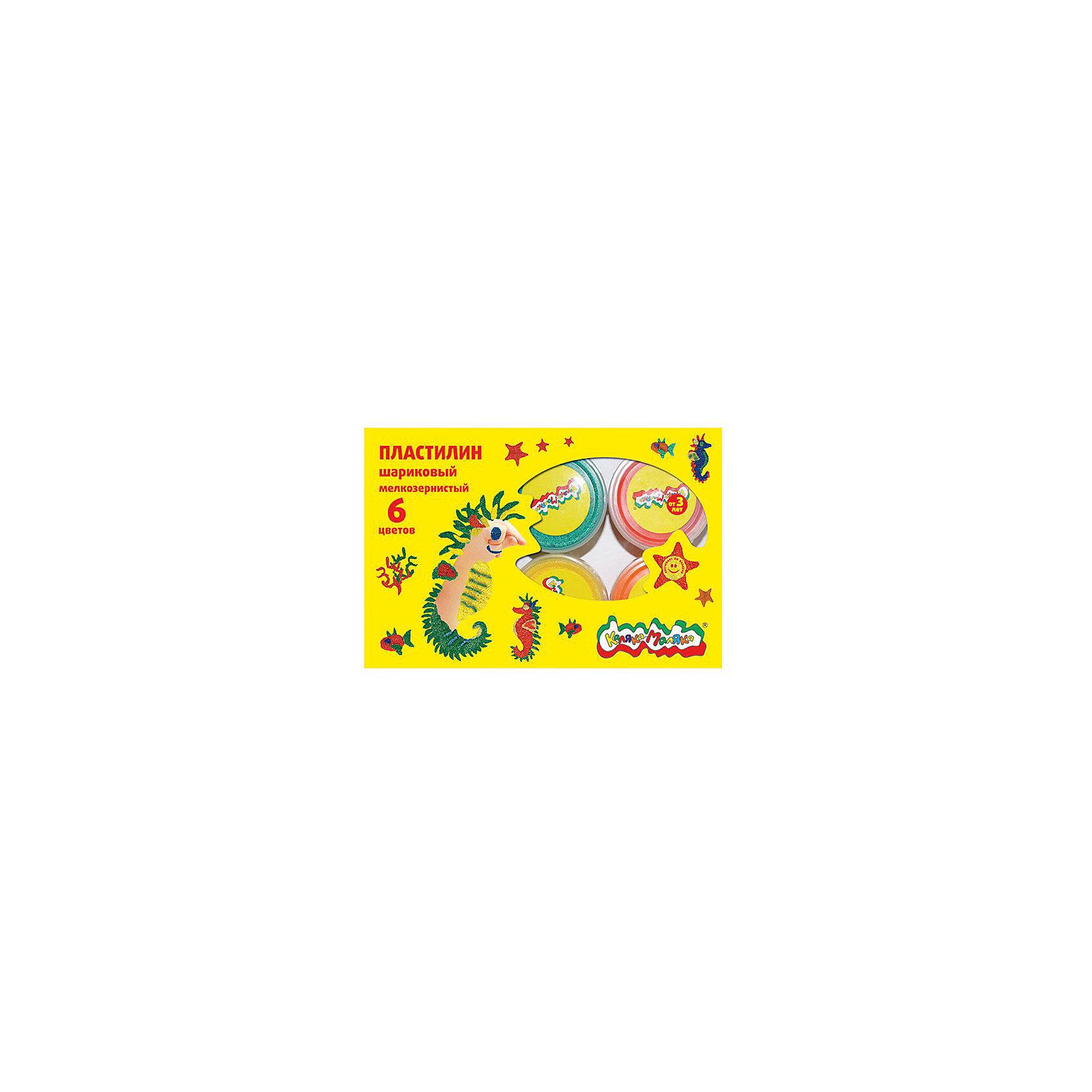 Шариковый пластилин 6 цветовЛепка<br>Маленькие шарики, из которых состоит этот пластилин, соединены между собой гелевым раствором, который не прилипает к рукам, но позволяет легко склеивать вылепленные элементы между собой. Пластилин воздушный, пластичный и при лепке приятно массирует ладошки. Идеально подходит для заполнения витражей, декорирования поделок из массы для лепки и создания аппликаций на картоне. Для создания объемных поделок необходимо использовать твердую основу или вначале слегка подсушить пластилин на воздухе. Перед применением полностью извлечь из баночки и перемешать до равномерного распределения геля между пенопластовыми шариками. Пластилин застывает на воздухе в течение 3-12 часов в зависимости от размера поделки. Классические наборы шарикового мелкозернистого пластилина Каляка-Маляка содержат 33 г пластилина каждого цвета. В ассортименте имеются наборы из 6 цветов - (красный, синий, зеленый, желтый, белый, черный)<br><br>Ширина мм: 212<br>Глубина мм: 180<br>Высота мм: 40<br>Вес г: 265<br>Возраст от месяцев: 36<br>Возраст до месяцев: 108<br>Пол: Унисекс<br>Возраст: Детский<br>SKU: 5188791