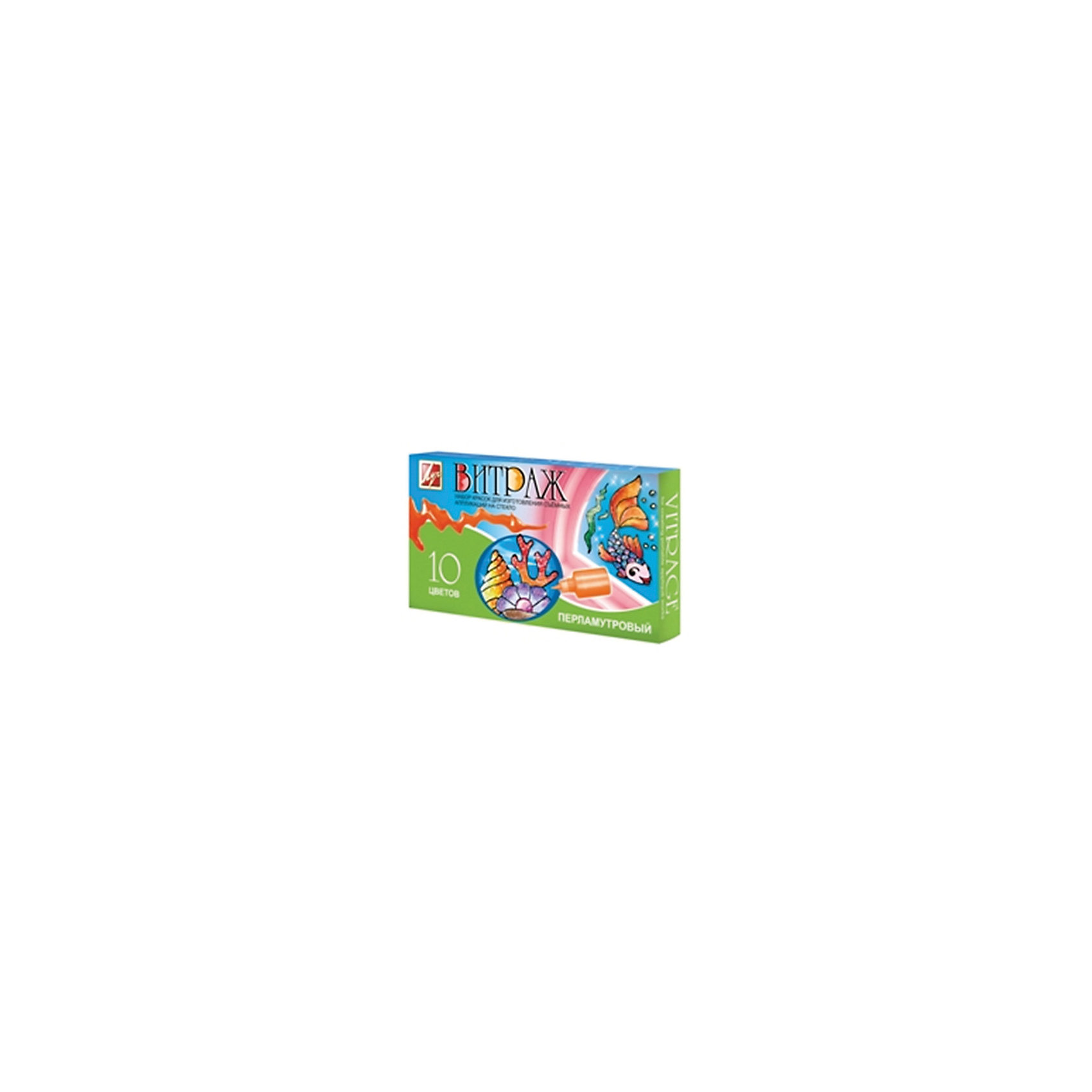 Витражные краски перламутровые 10 цветовХарактеристики:<br><br>• Предназначение: для занятий художественным творчеством<br>• Пол: универсальный<br>• Тематика шаблонов: морская<br>• Количество цветов: 10 перламутровых цветов в тюбиках<br>• Комплектация: краски, пленка-файл, шаблоны, запасные колпачки<br>• Тип краски: витражная<br>• Материал: акриловые краски, пластик<br>• Размеры упаковки (Д*Ш*В): 25*5*14 см<br>• Вес упаковки: 350 г <br>• Упаковка: картонная коробка<br><br>Витражные краски перламутровые 10 цветов от ведущего производителя канцелярии и товаров для творчества Луч состоят из материалов и приспособлений, необходимых для создания витражей. Набор включает в себя 10 тюбиков с перламутровыми красками, шаблонами и запасными колпачками для тюбиков. Витражные краски от Луча отличаются яркостью и стойкостью цветов, краски при нанесении на поверхность не растекаются, хорошо переносят перепады температуры и влажности. Набор предназначен для создания объемных аппликаций, благодаря особому составу красок, готовые картинки надежно держатся на стеклянных и зеркальных поверхностях. Краски гипоаллергенны, не имеют запаха, поэтому они безопасны для детского творчества. <br>Занятия художественным творчеством развивают мелкую моторику рук, способствуют формированию художественно-эстетического вкуса и дарят хорошее настроение не только ребенку, но и окружающим!<br><br>Витражные краски перламутровые 10 цветов можно купить в нашем интернет-магазине.<br><br>Ширина мм: 132<br>Глубина мм: 35<br>Высота мм: 242<br>Вес г: 406<br>Возраст от месяцев: 36<br>Возраст до месяцев: 180<br>Пол: Унисекс<br>Возраст: Детский<br>SKU: 5188797