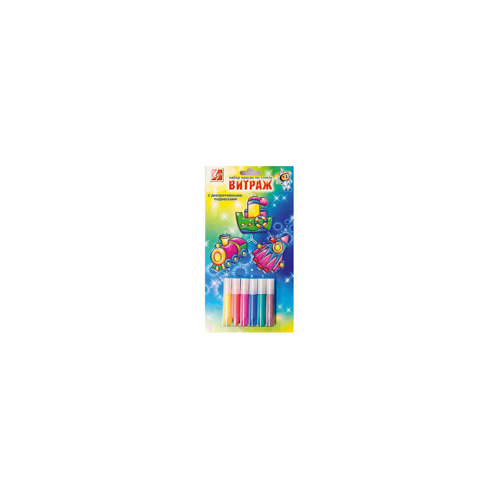 Набор витражных красок с декоративными подвесками Веселое путешествиеХарактеристики:<br><br>• Предназначение: для занятий художественным творчеством<br>• Пол: для мальчика<br>• Тематика шаблонов: транспорт<br>• Количество цветов: 6 цветов в тюбиках<br>• Комплектация: краски, пленка-файл, шаблоны-подвески<br>• Тип краски: витражная<br>• Материал: акриловые краски, пластик<br>• Размеры упаковки (Д*Ш*В): 28*2*16 см<br>• Вес упаковки: 110 г <br>• Упаковка: блистер на картоне<br><br>Набор витражных красок с декоративными подвесками Веселое путешествие от ведущего производителя канцелярии и товаров для творчества Луч состоят из материалов и приспособлений, необходимых для создания витражей. Набор включает в себя 6 тюбиков с красками и подвесками-шаблонами форм различных транспортных средств. Витражные краски от Луча отличаются яркостью и стойкостью цветов, краски при нанесении на поверхность не растекаются, хорошо переносят перепады температуры и влажности. Набор предназначен для создания объемных аппликаций и подвесок для декора интерьера. Особый состав красок обеспечивает длительную сохранность яркости цвета. Краски гипоаллергенны, не имеют запаха, поэтому они безопасны для детского творчества. <br>Занятия художественным творчеством развивают мелкую моторику рук, способствуют формированию художественно-эстетического вкуса и дарят хорошее настроение не только ребенку, но и окружающим!<br><br>Набор витражных красок с декоративными подвесками Веселое путешествие можно купить в нашем интернет-магазине.<br><br>Ширина мм: 155<br>Глубина мм: 15<br>Высота мм: 283<br>Вес г: 115<br>Возраст от месяцев: 36<br>Возраст до месяцев: 180<br>Пол: Унисекс<br>Возраст: Детский<br>SKU: 5188799