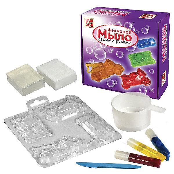 Набор для  изготовление мыла МашиныНаборы для создания мыла<br>Характеристики:<br><br>• Предназначение: для занятий мыловарением<br>• Пол: для мальчика<br>• Тема: транспортные средства<br>• Комплектация: мыльная основа, пищевые красители, форма для мыла, пластиковый стакан, инструкция, стек<br>• Материал: мыльная основа, пищевые красители, пластик, картон<br>• Размеры упаковки (Д*Ш*В): 18*18*8 см<br>• Вес упаковки: 390 г <br>• Упаковка: картонная коробка<br><br>Набор для изготовления мыла Машины от отечественной компании Луч, специализирующейся на выпуске канцелярских товаров и товаров для занятий творчеством. Набор состоит из материалов и приспособлений, необходимых для создания коллекции мыла в форме транспортных средств. Все материалы, использованные в комплекте безопасны и нетоксичны, они не вызывают аллергических реакций. Набор для изготовления мыла может стать прекрасным вариантов в качестве подарка к праздникам не только для детей, но и для взрослых, которые увлекаются занятиями творчеством. С помощью набора можно создать оригинальные подарки для родных и близких. Занятия творчеством развивают мелкую моторику рук, способствуют формированию художественно-эстетического вкуса и дарят хорошее настроение не только ребенку, но и окружающим!<br><br>Набор для изготовления мыла Машины можно купить в нашем интернет-магазине.<br><br>Ширина мм: 180<br>Глубина мм: 70<br>Высота мм: 180<br>Вес г: 355<br>Возраст от месяцев: 36<br>Возраст до месяцев: 180<br>Пол: Мужской<br>Возраст: Детский<br>SKU: 5188803