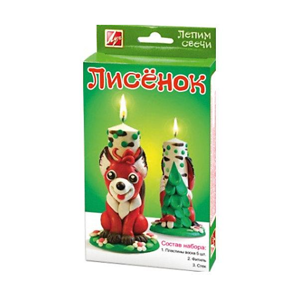 Набор для творчества Лисёнок лепим свечиНаборы для создания свечей<br>Характеристики:<br><br>• Предназначение: для занятий лепкой<br>• Пол: универсальный<br>• Коллекция: Классика<br>• Тема: животные<br>• Комплектация: парафин, фитиль, инструкция, стек<br>• Материал: парафин, текстиль, пластик, картон<br>• Размеры упаковки (Д*Ш*В): 11*3*18,5 см<br>• Вес упаковки: 300 г <br>• Упаковка: картонная коробка<br><br>Набор для творчества Лисёнок лепим свечи от отечественной компании Луч, специализирующейся на выпуске канцелярских товаров и товаров для занятий творчеством. Набор состоит из материалов и приспособлений, необходимых для создания свечки с лисенком. Все материалы, использованные в комплекте безопасны и нетоксичны, они не вызывают аллергических реакций. Уникальность набора заключается в том, что парафин для создания свечи выполнен в форме пластин и для придания ему нужной формы не требуется его подвергать термической обработке, что делает набор безопасным даже для детей младшего дошкольного возраста. Набор для изготовления свечей может стать прекрасным вариантов в качестве подарка к праздникам не только для детей, но и для взрослых, которые увлекаются занятиями творчеством. С помощью набора можно создать оригинальные подарки для родных и близких. Занятия творчеством развивают мелкую моторику рук, способствуют формированию художественно-эстетического вкуса и дарят хорошее настроение не только ребенку, но и окружающим!<br><br>Набор для творчества Лисёнок лепим свечи можно купить в нашем интернет-магазине.<br>Ширина мм: 111; Глубина мм: 31; Высота мм: 216; Вес г: 320; Возраст от месяцев: 36; Возраст до месяцев: 180; Пол: Унисекс; Возраст: Детский; SKU: 5188812;