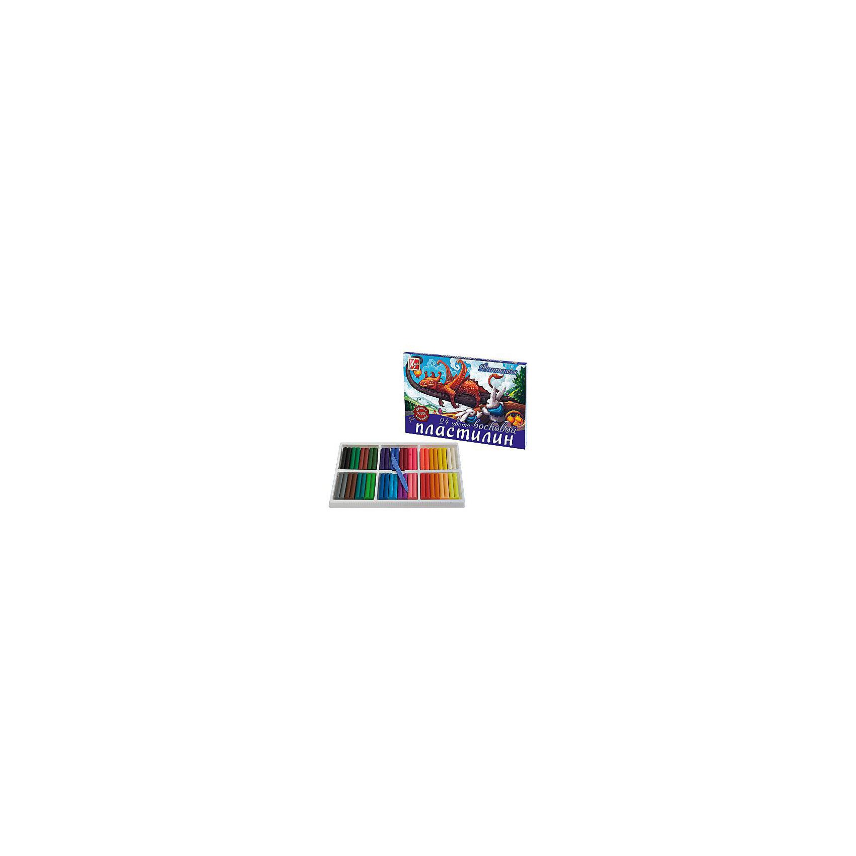 Пластилин Луч Фантазия восковой 24 цвета, со стекомЛепка<br>Характеристики:<br><br>• Предназначение: для занятий лепкой<br>• Серия: Фантазия<br>• Пол: для девочки<br>• Комплектация: 24 цвета, стек<br>• Материал: воск, натуральные красители, пластик<br>• Размеры (Д*Ш*В): 16,5*2*14,2 см<br>• Вес: 420 г <br>• Упаковка: картонная коробка<br><br>Пластилин Луч Фантазия восковой 24 цвета, со стеком от знаменитого мирового производителя канцелярских товаров Луч состоит из 18 ярких и насыщенных оттенков пластилина. Пластилин обладает хорошими пластичными и эластичными свойствами, не прилипает к рукам и рабочей поверхности, не окрашивает руки ребенка. Для удобства работы имеется стек. Пластилин серии Фантазия обладает повышенной мягкостью и эластичностью, что делает его идеальным для создания картин и аппликаций.<br>Занятия лепкой развивают мелкую моторику рук, способствуют развитию образного и пространственного мышления, учат ребенка аккуратности, внимательности и усидчивости!<br><br>Пластилин Луч Фантазия восковой 24 цвета, со стеком можно купить в нашем интернет-магазине.<br><br>Ширина мм: 202<br>Глубина мм: 17<br>Высота мм: 307<br>Вес г: 561<br>Возраст от месяцев: 36<br>Возраст до месяцев: 180<br>Пол: Унисекс<br>Возраст: Детский<br>SKU: 5188818