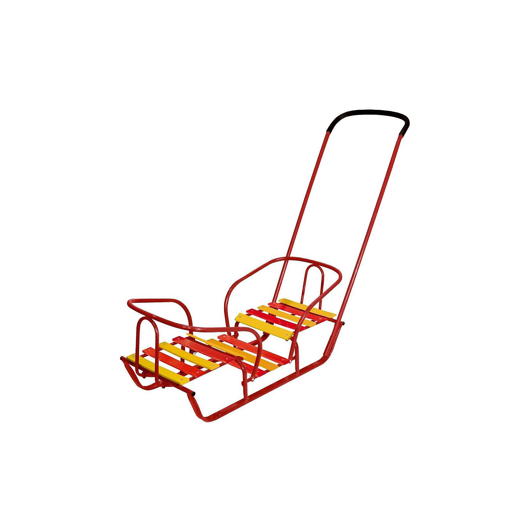 Санки для двойняшек, красные, НикаСанки для двойняшек, красные, Ника<br><br>Характеристика:<br><br>-Возраст: от 1 года до 4 лет<br>-Размеры: одно сидение- 32х29 см<br>                     подножка- 21х32 см<br>                     ширина полоза- 3 см<br>                     высота родительской ручки- 95 см<br>                     общая длина санок- 86 см<br>-Грузоподъёмность: 50 кг<br>-Цвет: красный<br>-Марка: Ника<br><br>Санки для двойняшек - это маневренные и надежные санки с двумя сидениями и съемной родительской ручкой. В них очень удобно перевозить детей погодок или двойняшек.<br>Прочная металлическая конструкция и два сидения со спинками обеспечат безопасность детям. Сидения расположены напротив друг друга и выполнены из деревянных поперечных реек. Также есть высокие бортики для предотвращения падений. Ручку-толкателя с прорезиненной накладкой  устанавливается в одном положении, также ее можно убрать. Плоские полозья хорошо скользят по снегу для более комфортных прогулок.<br><br>Санки для двойняшек, красные, Ника можно приобрести в нашем интернет-магазине.<br><br>Ширина мм: 880<br>Глубина мм: 420<br>Высота мм: 340<br>Вес г: 3450<br>Возраст от месяцев: 36<br>Возраст до месяцев: 2147483647<br>Пол: Женский<br>Возраст: Детский<br>SKU: 5191177
