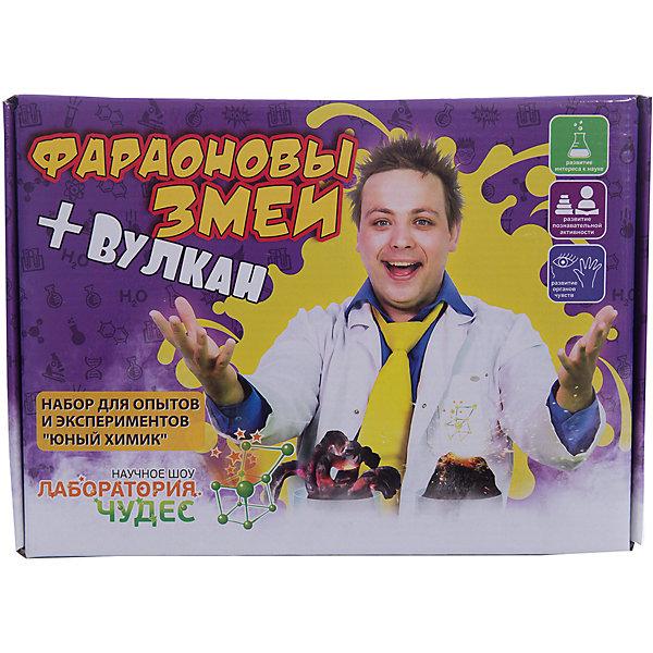 Набор для эксперементов юный химик Фараоновы змеи+ВулканХимия и физика<br>В набор входит: глюконат кальция, дихромат аммония, сухое горючее, чашка для выпаривания, перчатки.<br><br>Ширина мм: 255<br>Глубина мм: 185<br>Высота мм: 50<br>Вес г: 420<br>Возраст от месяцев: 120<br>Возраст до месяцев: 192<br>Пол: Унисекс<br>Возраст: Детский<br>SKU: 5191477