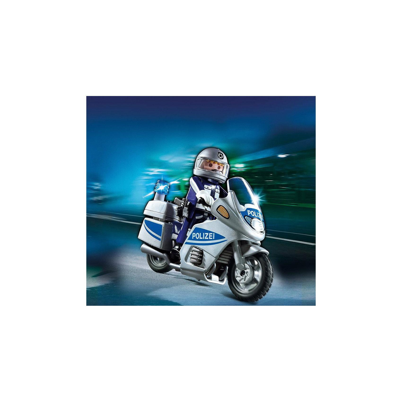 Полиция: Полицейский мотоцикл, PLAYMOBILПолиция: Полицейский мотоцикл, PLAYMOBIL (Плеймобиль).<br><br>Характеристики:<br><br>• В комплекте: полицейская машина, 2 фигурки полицейских.<br>• Размер упаковки: 15х15х5 см.<br>• Цвет: белый, темно - синий.<br>• Вес:120 г.<br>• Материал: пластик.<br><br>Ни один преступник не сможет скрыться, если в погоне участвует полицейский на скоростном мотоцикле от бренда PLAYMOBIL (Плеймобиль)! Там, где не может проехать машина, на узких, заставленных улочках, проедет мотоцикл, и вся территория будет охвачена вниманием полицейских, чтобы в городе сохранялось спокойствие и порядок. В состав комплекта входит мотоцикл со световой сиреной, фигурка полицейского в полной экипировке и пистолет.  Размер мотоцикла 15*15*5 см, высота фигурки полицейского 7,5 см. Фигурка полицейского может садиться на мотоцикл, сгибая ноги и руки.  Перчатки устроены так, что свободно обхватывают ручки мотоцикла.  Колеса с резиновыми шинами легко крепятся во время движения. Подарите своему юному стражу порядка такой набор!<br><br>Полиция: Полицейский мотоцикл, PLAYMOBIL (Плеймобиль), можно купить в нашем интернет- магазине.<br><br>Ширина мм: 150<br>Глубина мм: 150<br>Высота мм: 50<br>Вес г: 123<br>Возраст от месяцев: 48<br>Возраст до месяцев: 2147483647<br>Пол: Мужской<br>Возраст: Детский<br>SKU: 5195408