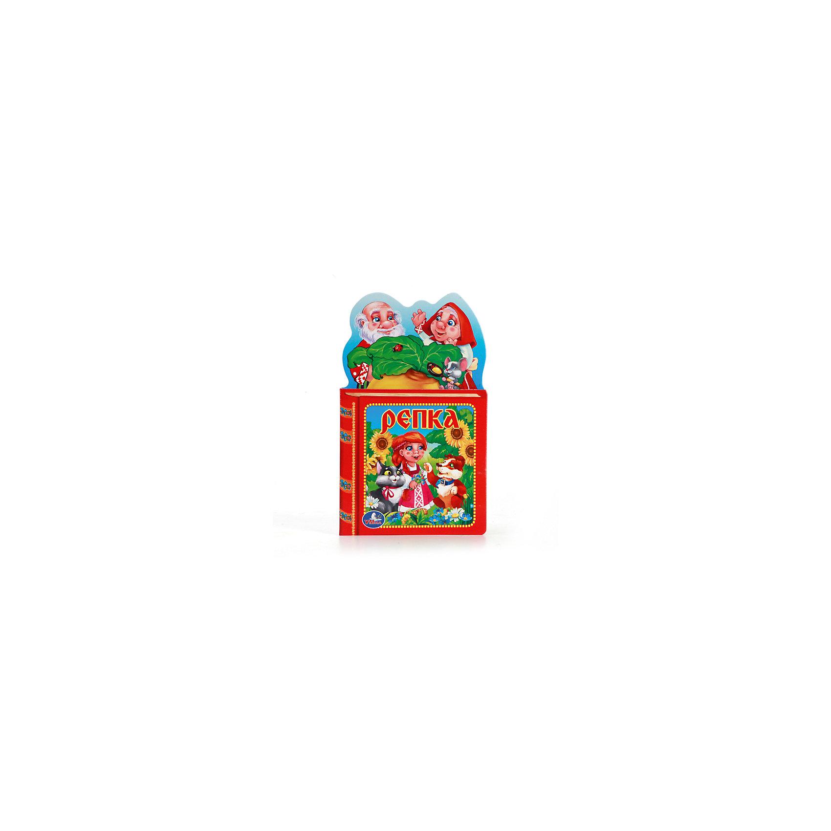 Книжка с вырубкой РепкаПервые книги малыша<br>Характеристики товара:<br><br>• размер: 21x13 см<br>• материал: картон, бумага<br>• страниц: 10<br>• возраст: 0+<br>• обложка: твердая<br>• цветные иллюстрации<br>• страна бренда: РФ<br>• страна изготовитель: РФ<br><br>Сказки не только развлекают малышей, они помогают учиться и познавать мир! Такая книжка станет отличным подарком ребенку и родителям - ведь с помощью неё можно учиться добру и рассматривать картинки. Формат - очень удобный, качество печати - отличное! Книжка дополнена яркими картинками. Книжки с вырубкой особенно нравятся малышам.<br>Чтение даже в юном возрасте помогает детям развивать важные навыки и способности, оно активизирует мышление, формирует усидчивость, логику и воображение. Изделие производится из качественных и проверенных материалов, которые безопасны для детей.<br><br>Книжку с вырубкой Репка от бренда Умка можно купить в нашем интернет-магазине.<br><br>Ширина мм: 10<br>Глубина мм: 210<br>Высота мм: 130<br>Вес г: 50<br>Возраст от месяцев: 24<br>Возраст до месяцев: 60<br>Пол: Унисекс<br>Возраст: Детский<br>SKU: 5196920