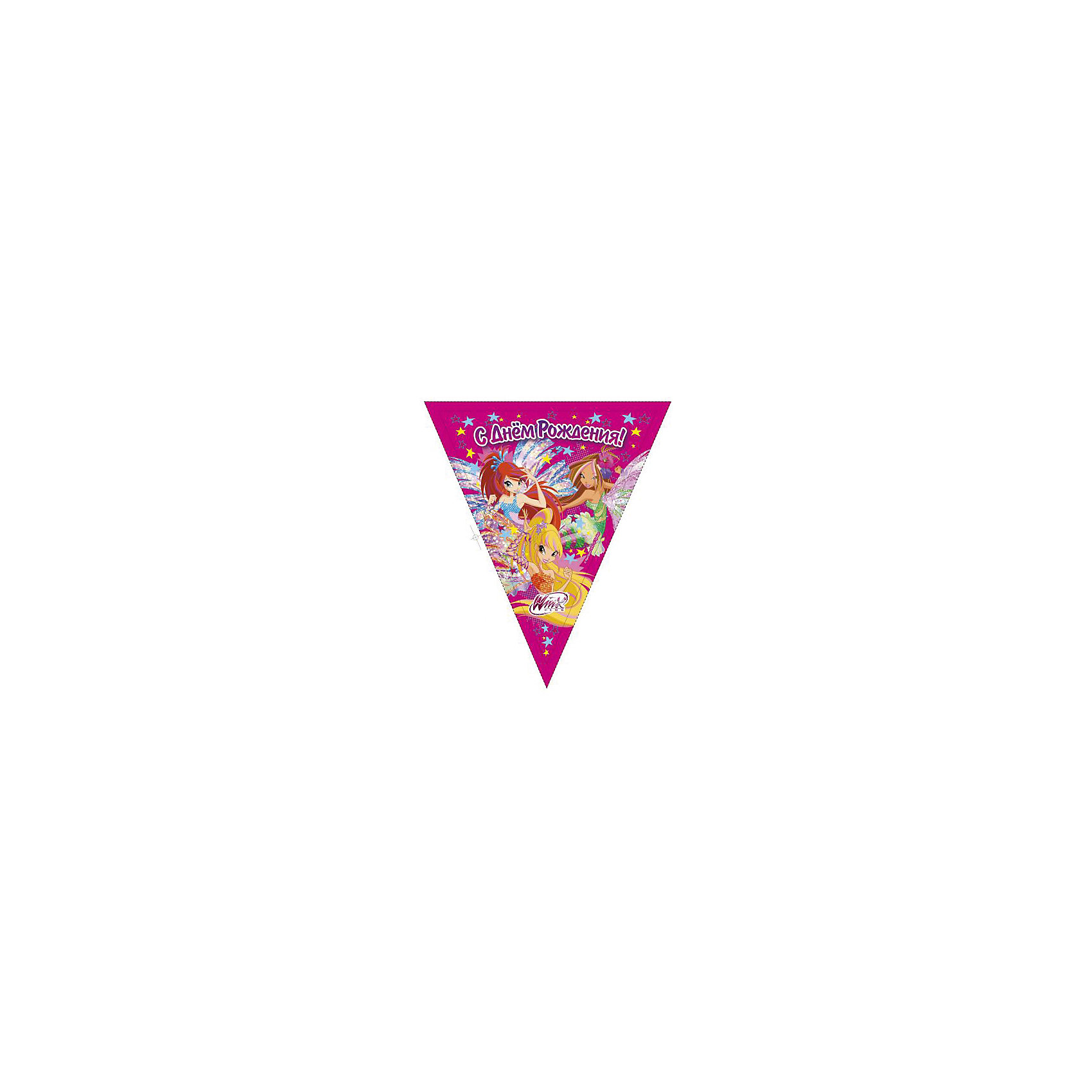 Гирлянда-флаги Winx ClubГирлянда-флаги Веселый праздник Winx 300 см.<br><br>Ширина мм: 10<br>Глубина мм: 330<br>Высота мм: 240<br>Вес г: 20<br>Возраст от месяцев: 12<br>Возраст до месяцев: 72<br>Пол: Женский<br>Возраст: Детский<br>SKU: 5196932