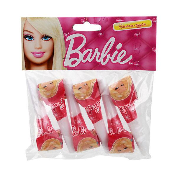 Язычки-гудки Barbie 6 штДетские дудочки<br>Язычки-гудки Barbie<br><br>Характеристики:<br><br>• серия: Веселый праздник;<br>• дизайн: Barbie;<br>• тип аксессуара: язычок-гудок;<br>• количество в упаковке: 6 шт.;<br>• материал: бумага, пластик;<br>• размер упаковки: 16х3х15 см;<br>• вес: 40 г.<br><br>В качестве дополнения к праздничной атмосфере детского праздника используются язычки-гудки. Оформлены гудки в стиле красавицы Барби. <br><br>Язычки-гудки Barbie 6 шт можно купить в нашем интернет-магазине.<br><br>Ширина мм: 30<br>Глубина мм: 160<br>Высота мм: 150<br>Вес г: 40<br>Возраст от месяцев: 12<br>Возраст до месяцев: 72<br>Пол: Женский<br>Возраст: Детский<br>SKU: 5196945