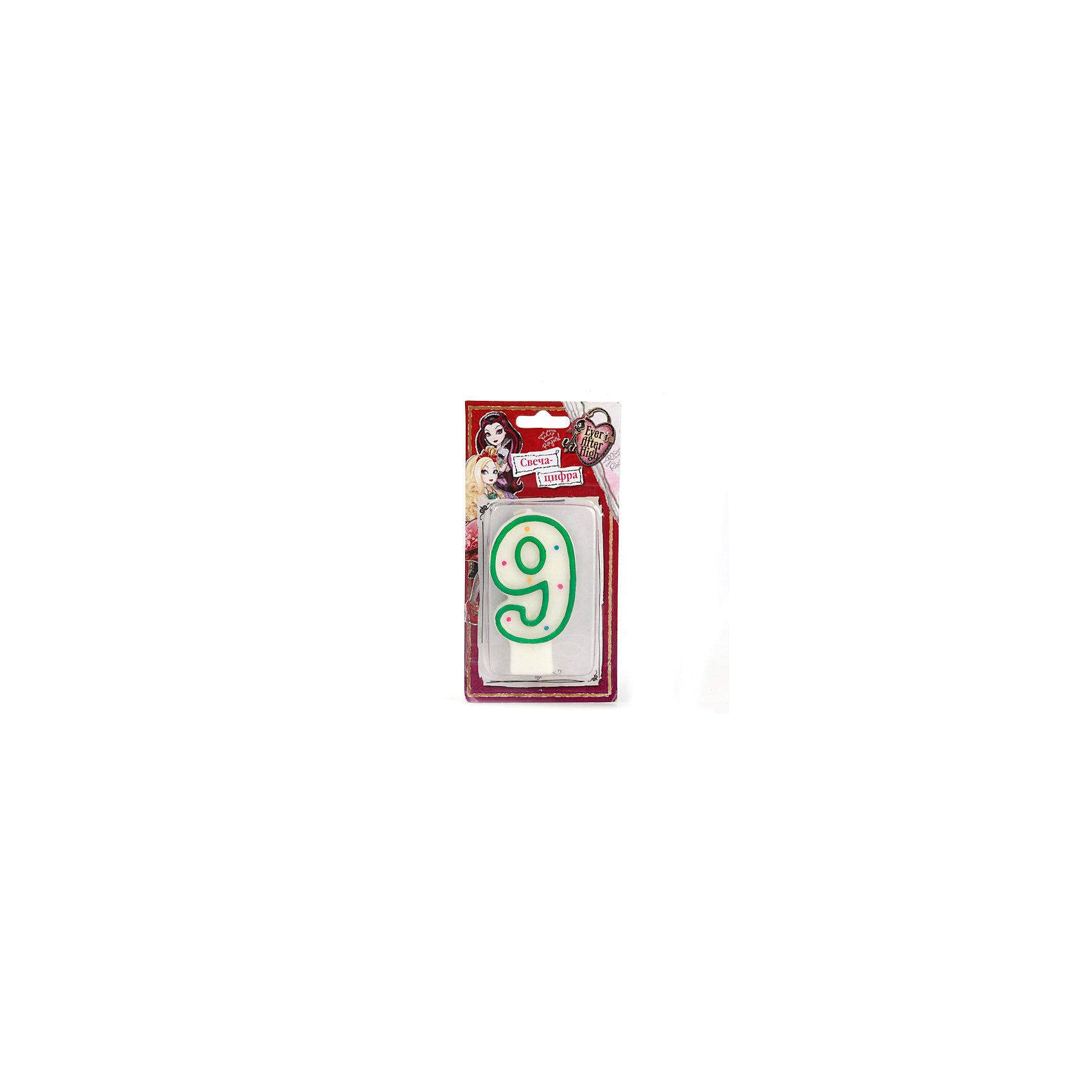 Свеча-цифра 9, Еver after highХарактеристики товара:<br><br>• размер упаковки: 2х15х8 см<br>• вес: 30 г<br>• материал: парафин<br>• упаковка: блистер<br>• страна бренда: РФ<br>• страна изготовитель: РФ<br><br>Такой предмет станет отличным сюрпризом для детей на праздник! Свеча отличается тем, что на её упаковке изображены любимые герои многих детей. Предмет поможет создать праздничное настроение, особенно - в компании детей. <br>Свеча выпущена в удобном формате, размер изделия - универсальный. Свеча производится из качественных и проверенных материалов, которые безопасны для детей.<br><br>Свечу-цифру 9, Еver after high, от российского бренда Веселый праздник можно купить в нашем интернет-магазине.<br><br>Ширина мм: 20<br>Глубина мм: 80<br>Высота мм: 150<br>Вес г: 30<br>Возраст от месяцев: 12<br>Возраст до месяцев: 72<br>Пол: Женский<br>Возраст: Детский<br>SKU: 5196953