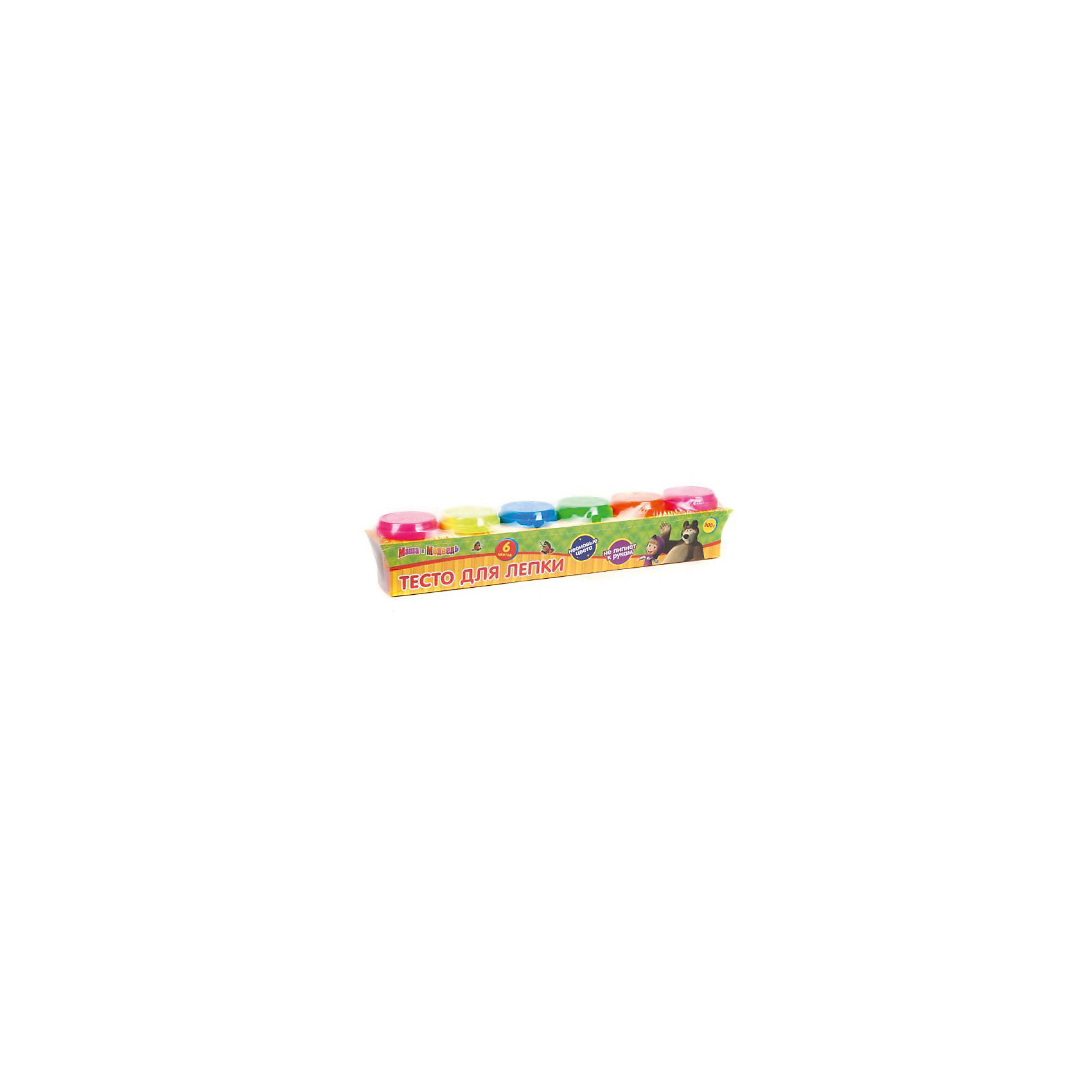 Тесто для лепки Неон, Маша и медведьМаша и Медведь<br>Характеристики товара:<br><br>• количество цветов: 6<br>• материал упаковки: пластиковые баночки<br>• возраст: 3+<br>• комплектация: тесто 6 банок<br>• страна производства: Китай<br><br>Развитие мелкой моторики малыша должно происходить постоянно. Помогают в этом различные игры и творческие процессы. Безусловно, приятно, когда после веселой игры остается в руках красивая памятная вещь, созданная своими руками. Лепка из теста относится как раз к таким играм. Многообразие цветов и приятная консистенция – основные достоинства набора. Материалы, использованные при изготовлении товара, сертифицированы и отвечают всем международным требованиям по качеству. <br><br>Набор «Тесто для лепки Неон, Маша и медведь» можно приобрести в нашем интернет-магазине.<br><br>Ширина мм: 50<br>Глубина мм: 70<br>Высота мм: 310<br>Вес г: 480<br>Возраст от месяцев: 36<br>Возраст до месяцев: 72<br>Пол: Унисекс<br>Возраст: Детский<br>SKU: 5196974
