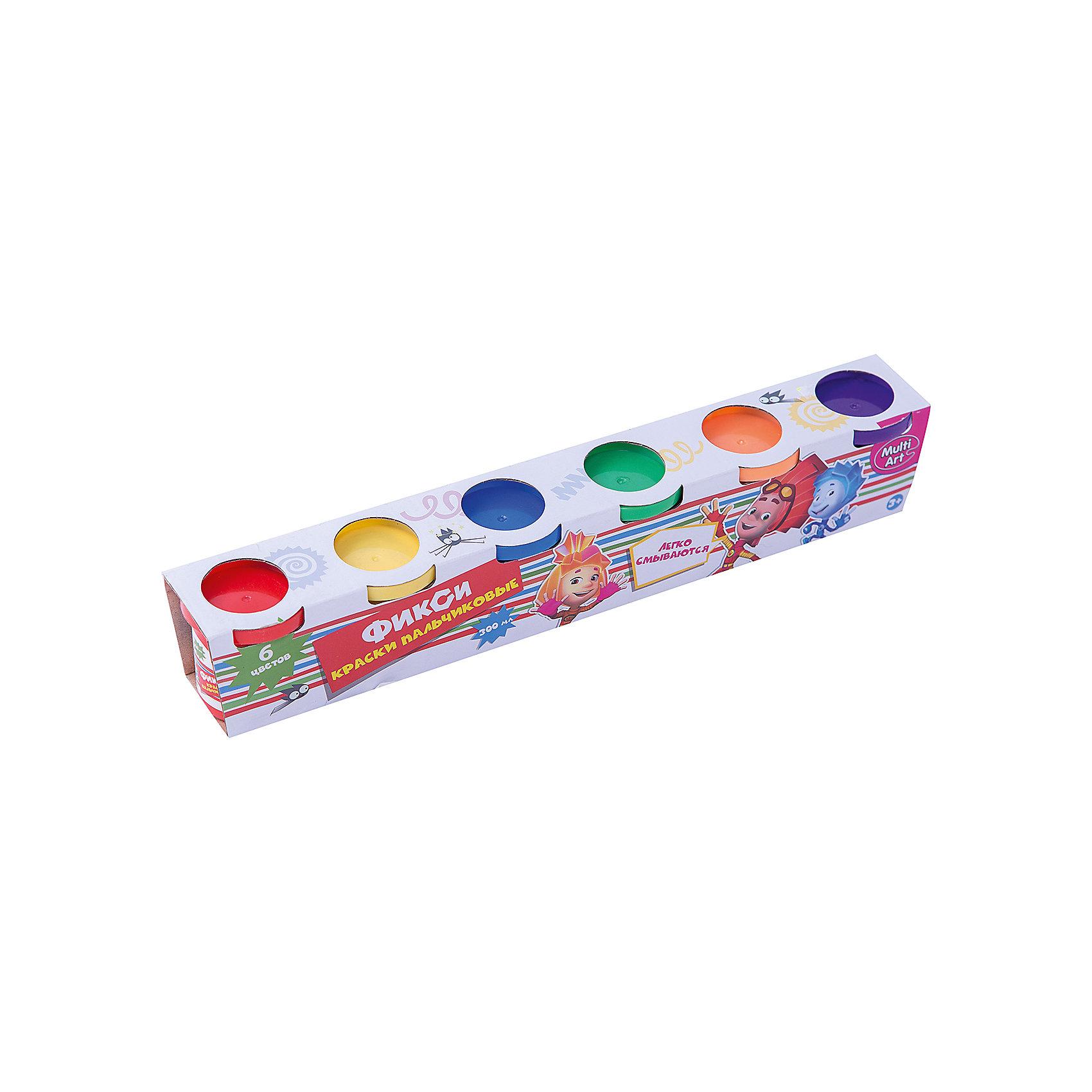 Пальчиковые краски ФиксикиХарактеристики:<br><br>• Предназначение: для занятий художественным творчеством<br>• Коллекция: Фиксики<br>• Пол: универсальный<br>• Материал: водная основа, натуральные пищевые красители, пластик, картон<br>• Цвет: красный, желтый, зеленый, синий, оранжевый, фиолетовый<br>• Комплектация: набор пальчиковых красок из 6-ти цветов<br>• Размеры (Д*Ш*В): 5*6*33 см<br>• Вес: 430 г <br>• Упаковка: картонная коробка<br><br>Пальчиковые краски Фиксики от ведущего торгового бренда товаров для творчества Multiart предназначены для занятий художественным творчеством с детьми раннего дошкольного возраста. Выполненные из экологически безопасных и нетоксичных материалов, пальчиковые краски не вызывают аллергии и раздражения на коже. Выполненные на водной основе с добавлением натуральных красителей, краски легко отмываются с любых поверхностей и без труда отстирываются с одежды. Пальчиковые краски имеют яркие оттенки, легко смешиваются между собой, не растекаются, благодаря своей кремообразной консистенции, при необходимости их можно разводить водой. Рисовать красками можно как пальчиками или ладошками, так и кисточками, что сделает творческий процесс еще более увлекательным для вашего малыша. Занятия художественным творчеством с пальчиковыми красками Фиксики позволят научить ребенка распознавать основные цвета и создавать из них различные оттенки, разовьют фантазию и воображение, а также будут способствовать развитию мелкой моторики рук.<br><br>Пальчиковые краски Фиксики можно купить в нашем интернет-магазине.<br><br>Ширина мм: 50<br>Глубина мм: 60<br>Высота мм: 330<br>Вес г: 430<br>Возраст от месяцев: 36<br>Возраст до месяцев: 72<br>Пол: Унисекс<br>Возраст: Детский<br>SKU: 5196977