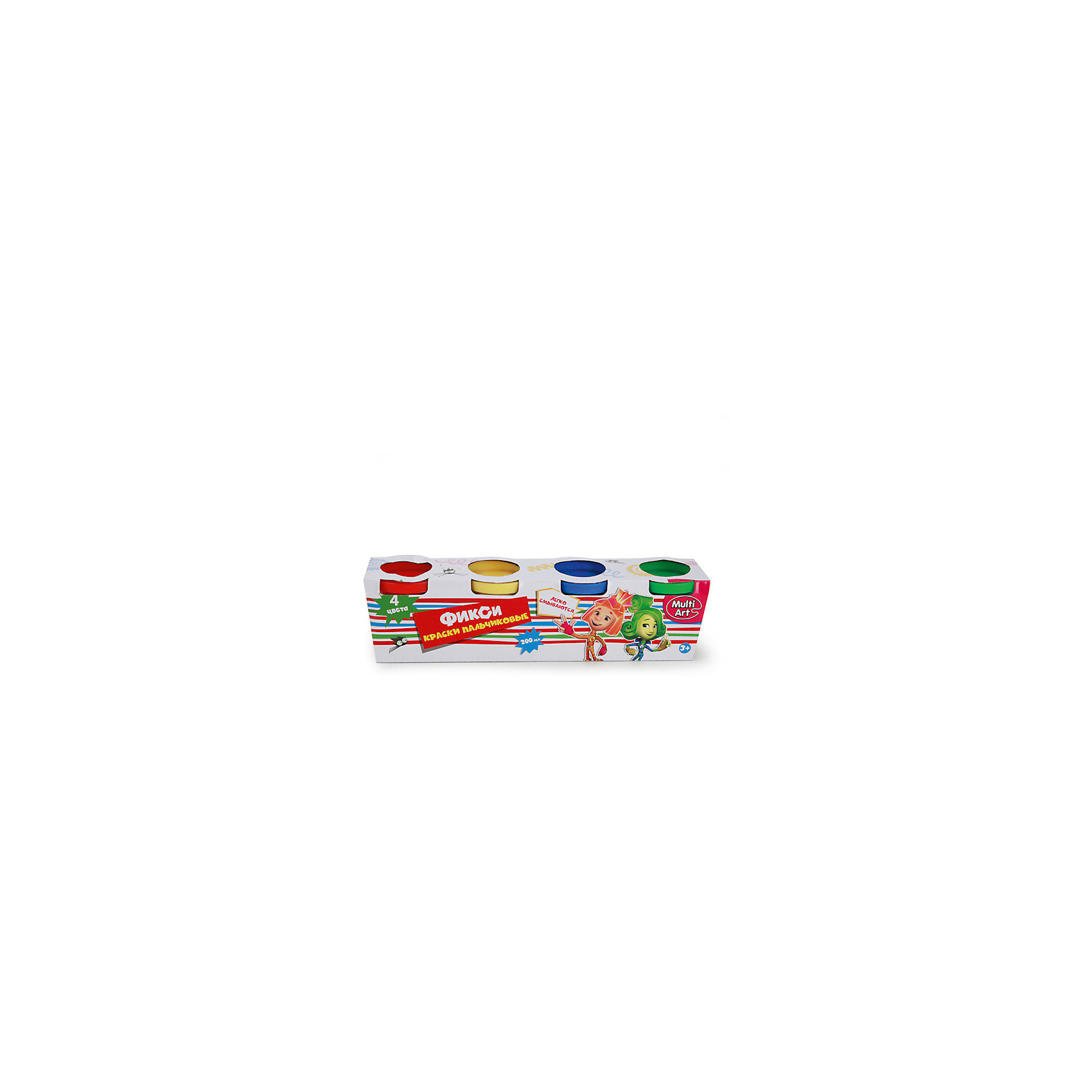Пальчиковые краски ФиксикиПопулярные игрушки<br>Характеристики:<br><br>• Предназначение: для занятий художественным творчеством<br>• Коллекция: Фиксики<br>• Пол: универсальный<br>• Материал: водная основа, натуральные пищевые красители, пластик, картон<br>• Цвет: красный, желтый, зеленый, синий<br>• Комплектация: набор пальчиковых красок из 4-х цветов<br>• Размеры (Д*Ш*В): 5*6*22 см<br>• Вес: 290 г <br>• Упаковка: картонная коробка<br><br>Пальчиковые краски Фиксики от ведущего торгового бренда товаров для творчества Multiart предназначены для занятий художественным творчеством с детьми раннего дошкольного возраста. Выполненные из экологически безопасных и нетоксичных материалов, пальчиковые краски не вызывают аллергии и раздражения на коже. Выполненные на водной основе с добавлением натуральных красителей, краски легко отмываются с любых поверхностей и без труда отстирываются с одежды. Пальчиковые краски имеют яркие оттенки, легко смешиваются между собой, не растекаются, благодаря своей кремообразной консистенции, при необходимости их можно разводить водой. Рисовать красками можно как пальчиками или ладошками, так и кисточками, что сделает творческий процесс еще более увлекательным для вашего малыша. Занятия художественным творчеством с пальчиковыми красками Фиксики позволят научить ребенка распознавать основные цвета и создавать из них различные оттенки, разовьют фантазию и воображение, а также будут способствовать развитию мелкой моторики рук.<br><br>Пальчиковые краски Фиксики можно купить в нашем интернет-магазине.<br><br>Ширина мм: 50<br>Глубина мм: 60<br>Высота мм: 220<br>Вес г: 290<br>Возраст от месяцев: 36<br>Возраст до месяцев: 72<br>Пол: Унисекс<br>Возраст: Детский<br>SKU: 5196978