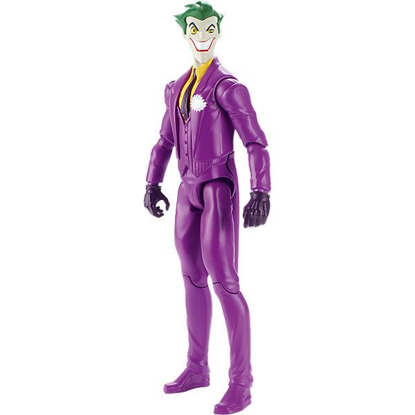 Базовая фигурка Джокер, БэтменГерои комиксов<br>Характеристики товара:<br><br>• цвет: фиолетовый<br>• комплектация: 1 фигурка<br>• материал: пластик<br>• серия: Лига Справедливости<br>• ноги гнутся<br>• высота фигурки: 30 см<br>• возраст: от трех лет<br>• упаковка: коробка<br>• размер упаковки: 31х11х5 см<br>• вес: 0,3 кг<br>• страна бренда: США<br><br>Отличный подарок для любителей супергероев! Такая фигурка позволит придумать множество игр со своими любимыми персонажами. Она отлично детализирована. Высота - 30 сантиметров, поэтому и выглядит супергерой внушительно.<br><br>Игры с подобными фигурками - это не только весело, они помогают детям развить воображение, творческое и пространственное мышление, мелкую моторику . Игрушки от бренда Mattel отличаются стабильно высоким качеством и уже давно радуют детей по всему миру! <br><br>Базовую фигурку Джокер от компании Mattel можно купить в нашем интернет-магазине.<br>Ширина мм: 312; Глубина мм: 106; Высота мм: 58; Вес г: 245; Возраст от месяцев: 36; Возраст до месяцев: 96; Пол: Мужской; Возраст: Детский; SKU: 5197040;