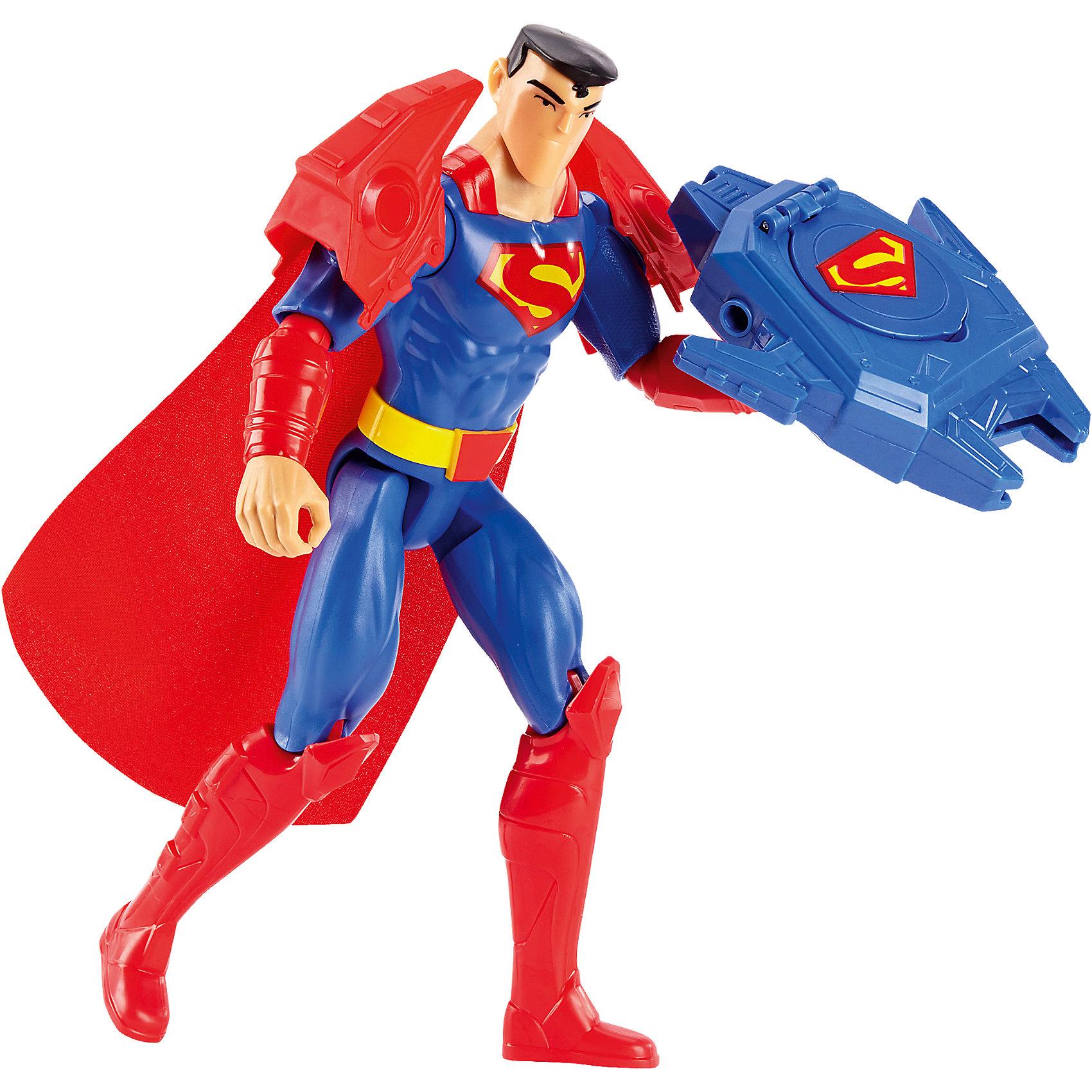 Базовая фигурка Лига справедливости, 30 см СуперменЛюбимые герои<br>Характеристики товара:<br><br>• возраст от 3 лет;<br>• материал: пластик;<br>• в комплекте: фигурка, оружие, 3 диска, 2 наплечника;<br>• высота фигурки 30 см;<br>• размер упаковки 31х17х9,5 см;<br>• вес упаковки 410 гр.;<br>• страна производитель: Китай.<br><br>Фигурка Супермен Superman Armor Blast обязательно понравится поклонникам известного супергероя с планеты Криптон Супермена. Супермен оснащен мощным оружием бластером, стреляющим дисками и способным победить даже самых опасных противников. Голова фигурки поворачивается, а руки и ноги сгибаются. Игрушка изготовлена из качественного безопасного пластика. Она позволит мальчикам придумать и устроить невероятные сражения с участием любимого супергероя.<br><br>Фигурку Супермен Superman Armor Blast можно приобрести в нашем интернет-магазине.<br><br>Ширина мм: 309<br>Глубина мм: 172<br>Высота мм: 96<br>Вес г: 413<br>Возраст от месяцев: 36<br>Возраст до месяцев: 96<br>Пол: Мужской<br>Возраст: Детский<br>SKU: 5197064