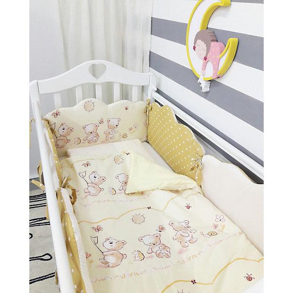Постельное белье Облака 6 пред., byTwinz, бежевыйПостельное белье в кроватку новорождённого<br>Красивый и стильный комплект постельного белья для Вашего ребенка. <br><br>В комплект входит 6 предметов: <br>бортики-облачка на завязках со сьемными наволочками 6 штук размером 60х45 см<br>простынь на резинке 125х65 см<br>наволочка 36х46 см<br>подушка 35х45см<br>пододеяльник 105х145 см<br>одеяло 100х140 см<br><br>Комплект выполнен их 100% хлопка, сатин<br>Наполнитель - холофайбер, экологически чистое, гиппоаллергенное волокно.<br><br>Ширина мм: 580<br>Глубина мм: 580<br>Высота мм: 180<br>Вес г: 3000<br>Возраст от месяцев: 0<br>Возраст до месяцев: 36<br>Пол: Унисекс<br>Возраст: Детский<br>SKU: 5197366