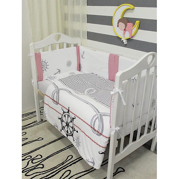 Постельное белье Морское бриз 6 пред., byTwinz, белыйПостельное белье в кроватку новорождённого<br>Красивый комплект постельного белья для малыша в морском стиле. <br><br>В комплект входит 6 предметов: <br>бортики на завязках со сьемными наволочками 360х45 см<br>простынь на резинке 125х65 см<br>наволочка 36х46 см<br>подушка 35х45см<br>пододеяльник 105х145 см<br>одеяло 100х140 см<br><br>Комплект выполнен их 100% хлопка, сатин<br>Наполнитель - холофайбер, экологически чистое, гиппоаллергенное волокно.<br><br>Ширина мм: 580<br>Глубина мм: 580<br>Высота мм: 180<br>Вес г: 3000<br>Возраст от месяцев: 0<br>Возраст до месяцев: 36<br>Пол: Унисекс<br>Возраст: Детский<br>SKU: 5197368