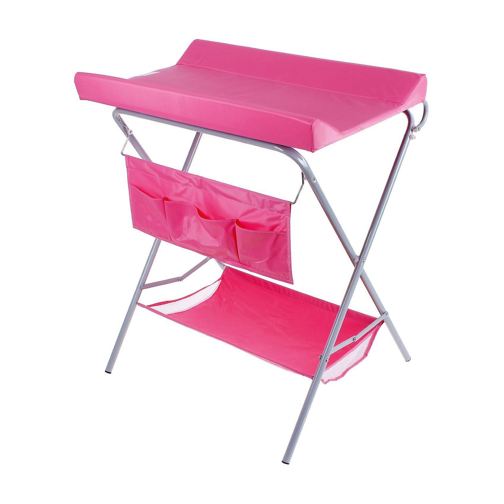 Пеленальный столик, Фея, розовыйВсе для пеленания<br>Характеристики:<br><br>• практичный пеленальный столик для проведения гигиенических процедур;<br>• есть возможность установить ванночку для купания новорожденного;<br>• обратите внимание: ванночка приобретается отдельно;<br>• внизу имеется тканевая корзина для детских вещей;<br>• имеется органайзер с кармашками для аксессуаров по уходу за малышом;<br>• столик компактно складывается;<br>• материал: алюминий, пластик, полиэстер;<br>• вес ребенка: до 13 кг;<br>• размер столика: 78,5х55,3х95 см;<br>• вес: 7 кг.<br><br>Компактный и практичный пеленальный столик используется во время пеленания новорожденного, проведения гигиенических процедур, смены подгузника. Дополнительно на основание столика можно установить ванночку – тогда мамочка сможет держать ровно спину в процессе купания младенца и не ощущать боли в пояснице. Доска откидная, не помешает установить ванночку. Столик для пеленания оснащен дополнительными отсеками, чтобы иметь все необходимое под рукой – корзинка внизу и боковые кармашки. Столик компактно складывается для хранения и транспортировки. <br><br>Пеленальный столик, Фея, розовый можно купить в нашем интернет-магазине.<br><br>Ширина мм: 915<br>Глубина мм: 410<br>Высота мм: 780<br>Вес г: 7000<br>Возраст от месяцев: 0<br>Возраст до месяцев: 12<br>Пол: Женский<br>Возраст: Детский<br>SKU: 5197371