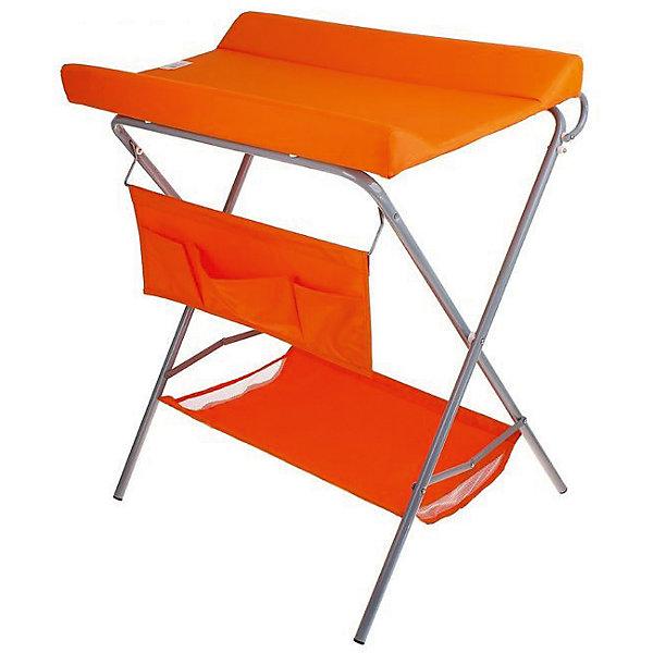 Пеленальный столик, Фея, оранжевыйПеленальные столы<br>Характеристики:<br><br>• практичный пеленальный столик для проведения гигиенических процедур;<br>• есть возможность установить ванночку для купания новорожденного;<br>• обратите внимание: ванночка приобретается отдельно;<br>• внизу имеется тканевая корзина для детских вещей;<br>• имеется органайзер с кармашками для аксессуаров по уходу за малышом;<br>• столик компактно складывается;<br>• материал: алюминий, пластик, полиэстер;<br>• вес ребенка: до 13 кг;<br>• размер столика: 78,5х55,3х95 см;<br>• вес: 7 кг.<br><br>Компактный и практичный пеленальный столик используется во время пеленания новорожденного, проведения гигиенических процедур, смены подгузника. Дополнительно на основание столика можно установить ванночку – тогда мамочка сможет держать ровно спину в процессе купания младенца и не ощущать боли в пояснице. Доска откидная, не помешает установить ванночку. Столик для пеленания оснащен дополнительными отсеками, чтобы иметь все необходимое под рукой – корзинка внизу и боковые кармашки. Столик компактно складывается для хранения и транспортировки. <br><br>Пеленальный столик, Фея, оранжевый можно купить в нашем интернет-магазине.<br><br>Ширина мм: 915<br>Глубина мм: 410<br>Высота мм: 780<br>Вес г: 7000<br>Возраст от месяцев: 0<br>Возраст до месяцев: 12<br>Пол: Унисекс<br>Возраст: Детский<br>SKU: 5197372
