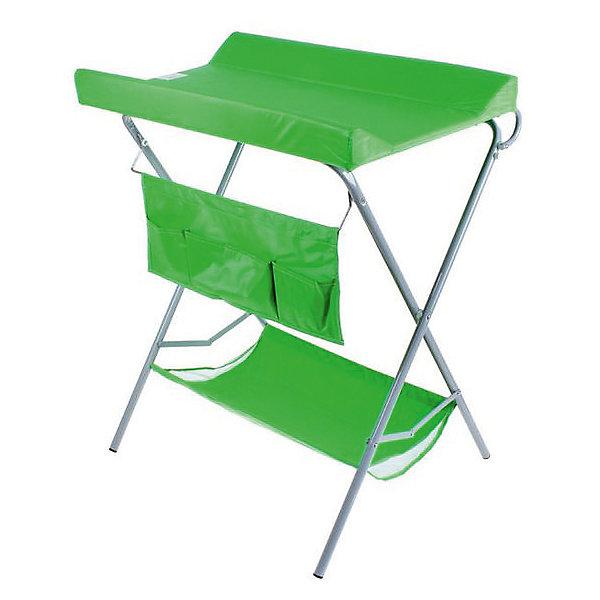 Пеленальный столик, Фея, зеленыйПеленальные столы<br>Характеристики:<br><br>• практичный пеленальный столик для проведения гигиенических процедур;<br>• есть возможность установить ванночку для купания новорожденного;<br>• обратите внимание: ванночка приобретается отдельно;<br>• внизу имеется тканевая корзина для детских вещей;<br>• имеется органайзер с кармашками для аксессуаров по уходу за малышом;<br>• столик компактно складывается;<br>• материал: алюминий, пластик, полиэстер;<br>• вес ребенка: до 13 кг;<br>• размер столика: 78,5х55,3х95 см;<br>• вес: 7 кг.<br><br>Компактный и практичный пеленальный столик используется во время пеленания новорожденного, проведения гигиенических процедур, смены подгузника. Дополнительно на основание столика можно установить ванночку – тогда мамочка сможет держать ровно спину в процессе купания младенца и не ощущать боли в пояснице. Доска откидная, не помешает установить ванночку. Столик для пеленания оснащен дополнительными отсеками, чтобы иметь все необходимое под рукой – корзинка внизу и боковые кармашки. Столик компактно складывается для хранения и транспортировки. <br><br>Пеленальный столик, Фея, зеленый можно купить в нашем интернет-магазине.<br><br>Ширина мм: 915<br>Глубина мм: 410<br>Высота мм: 780<br>Вес г: 7000<br>Возраст от месяцев: 0<br>Возраст до месяцев: 12<br>Пол: Унисекс<br>Возраст: Детский<br>SKU: 5197373