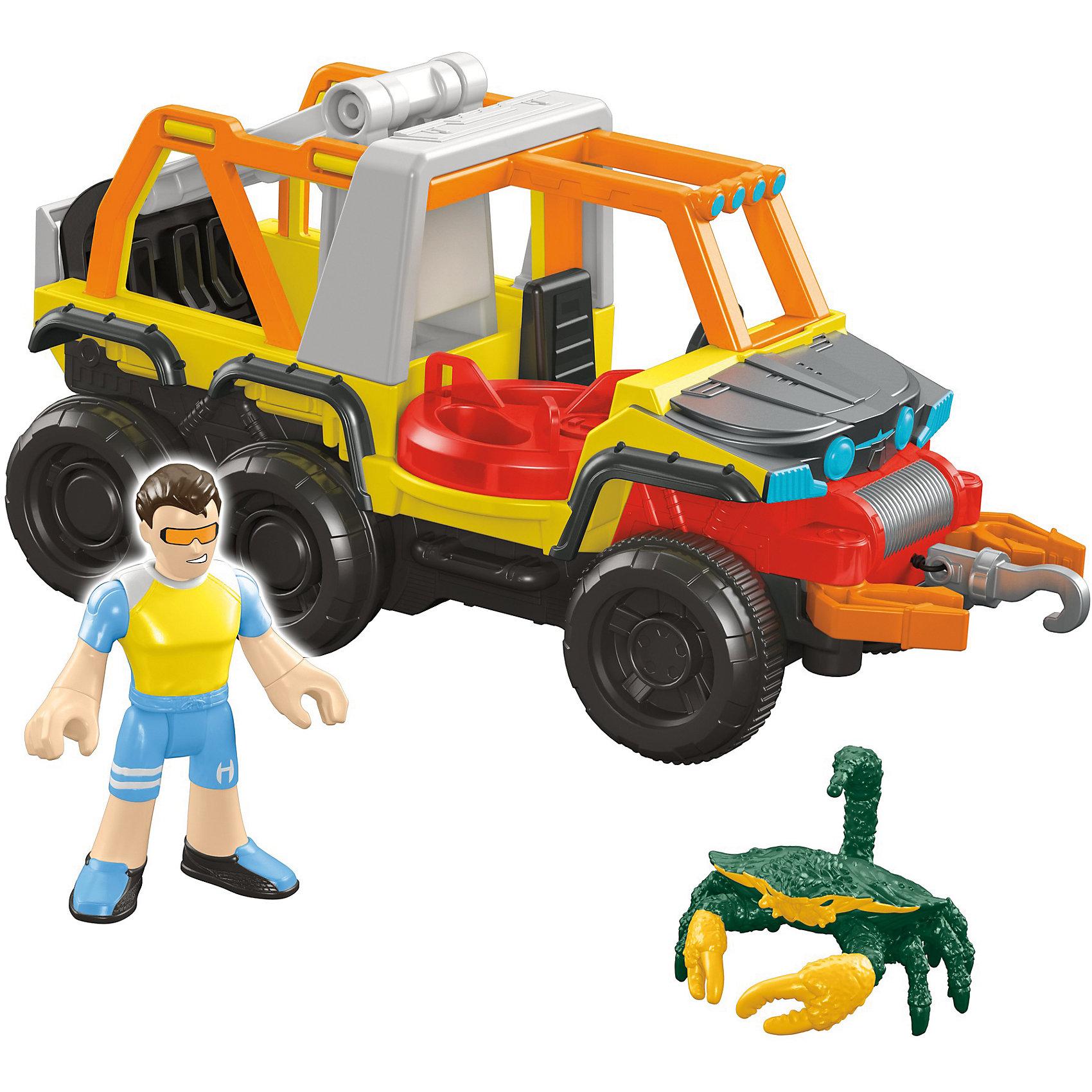 Набор Океан с аксессуарами, Imaginext, Fisher PriceЛюбимые герои<br>Характеристики:<br><br>• Вид игр: сюжетно-ролевые игры, игры на воде<br>• Пол: для мальчиков<br>• Серия: Imaginext<br>• Материал: пластик<br>• Цвет: в ассортименте<br>• Комплектация: грузовой пляжный вездеход, водитель, 4 снаряда, акула<br>• Размеры (Д*Ш*В): 14*5*17 см<br>• Вес: от 400 г <br>• Упаковка: картонная коробка<br><br>Набор Океан с аксессуарами, Imaginext, Fisher Price, в ассортименте – это игровой набор, состоящий из вездехода, фигурок водителя, акулы и аксессуаров от знаменитого производителя Mattel. Игрушки выполнены из качественного и безопасного пластика, устойчивого к механическим повреждениям. Все элементы окрашены нетоксичными красками. Вездеход оснащен выдвигающимся мостиком и клешнями. У водителя имеется защитный съемный жилет.<br><br>Сюжетно-ролевые игры с наборами серии Imaginext от Fisher Price позволят окунуться вашему ребенку в увлекательный подводный мир, создавать и воспроизводить свои истории, полные захватывающих приключений и удивительных спасений.<br><br>Набор Океан с аксессуарами, Imaginext, Fisher Price, в ассортименте можно купить в нашем интернет-магазине.<br><br>Ширина мм: 190<br>Глубина мм: 215<br>Высота мм: 100<br>Вес г: 444<br>Возраст от месяцев: 36<br>Возраст до месяцев: 96<br>Пол: Мужской<br>Возраст: Детский<br>SKU: 5200236